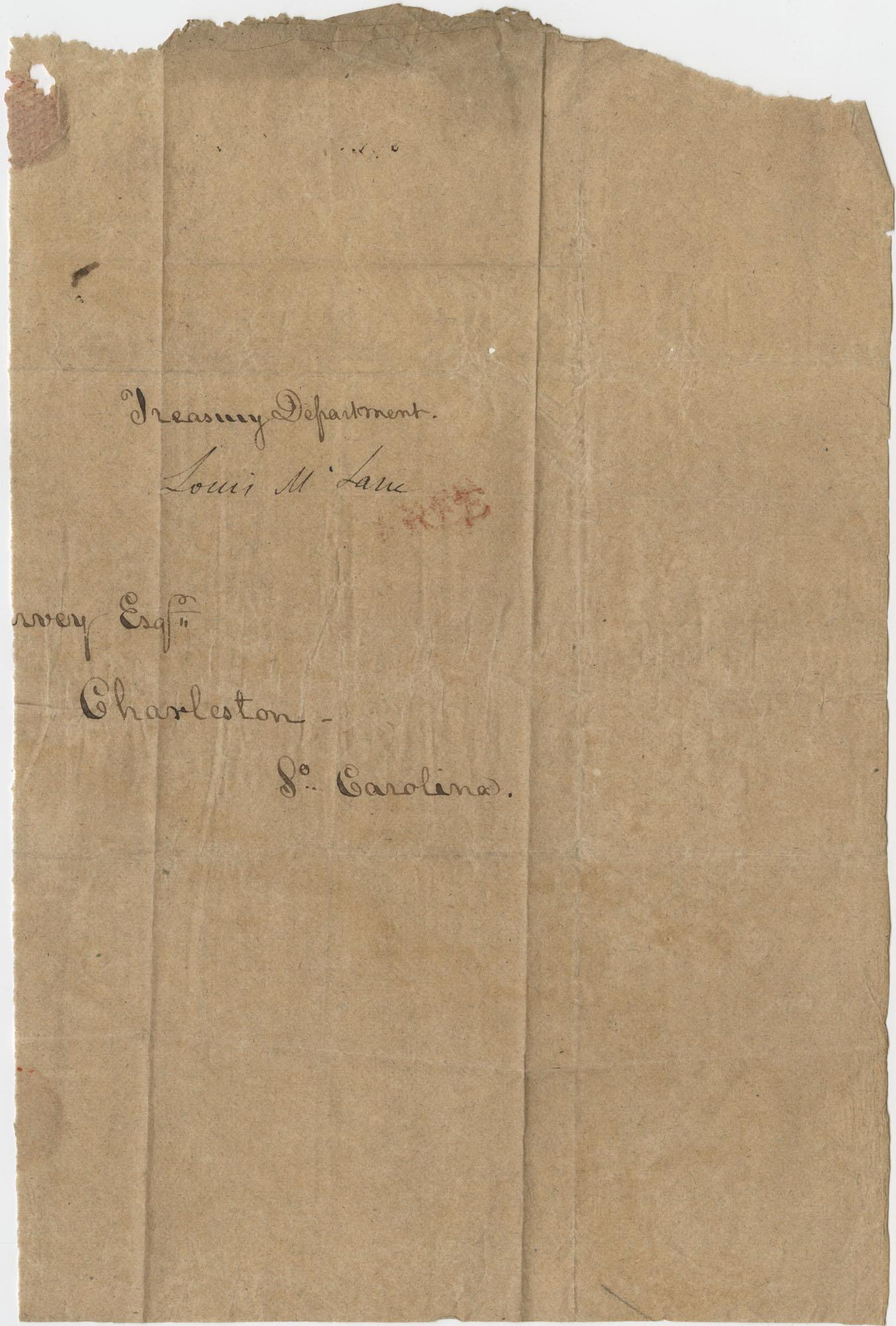 Thomas S. Grimke Autograph Collection, Autograph of Louis McLane (1786-1857), United States Secretary of the Treasury 1833-1834