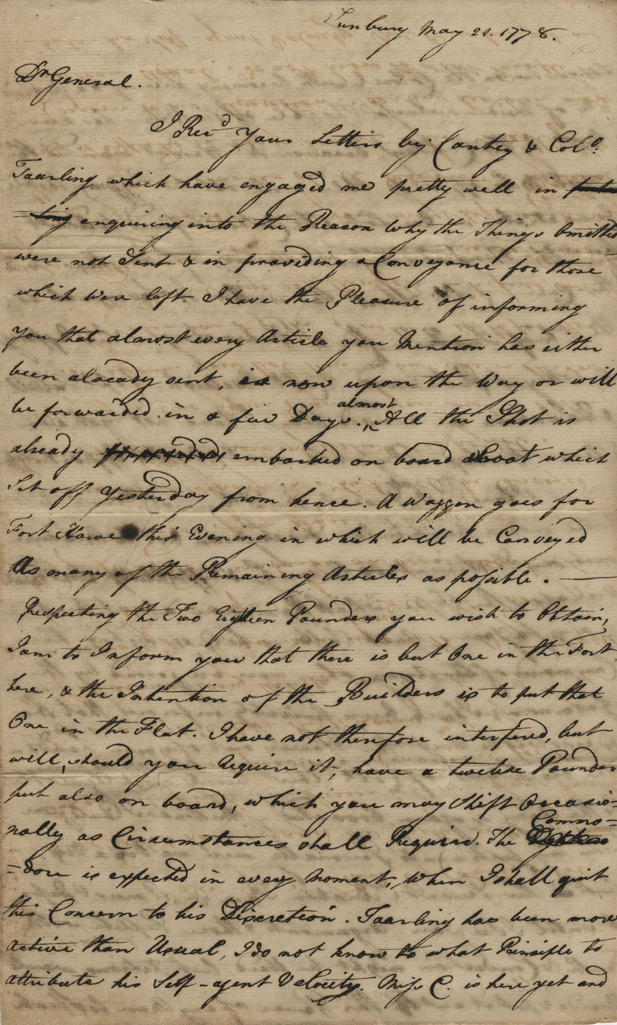 Letter from John F. Grimke to General Robert Howe, May 1778
