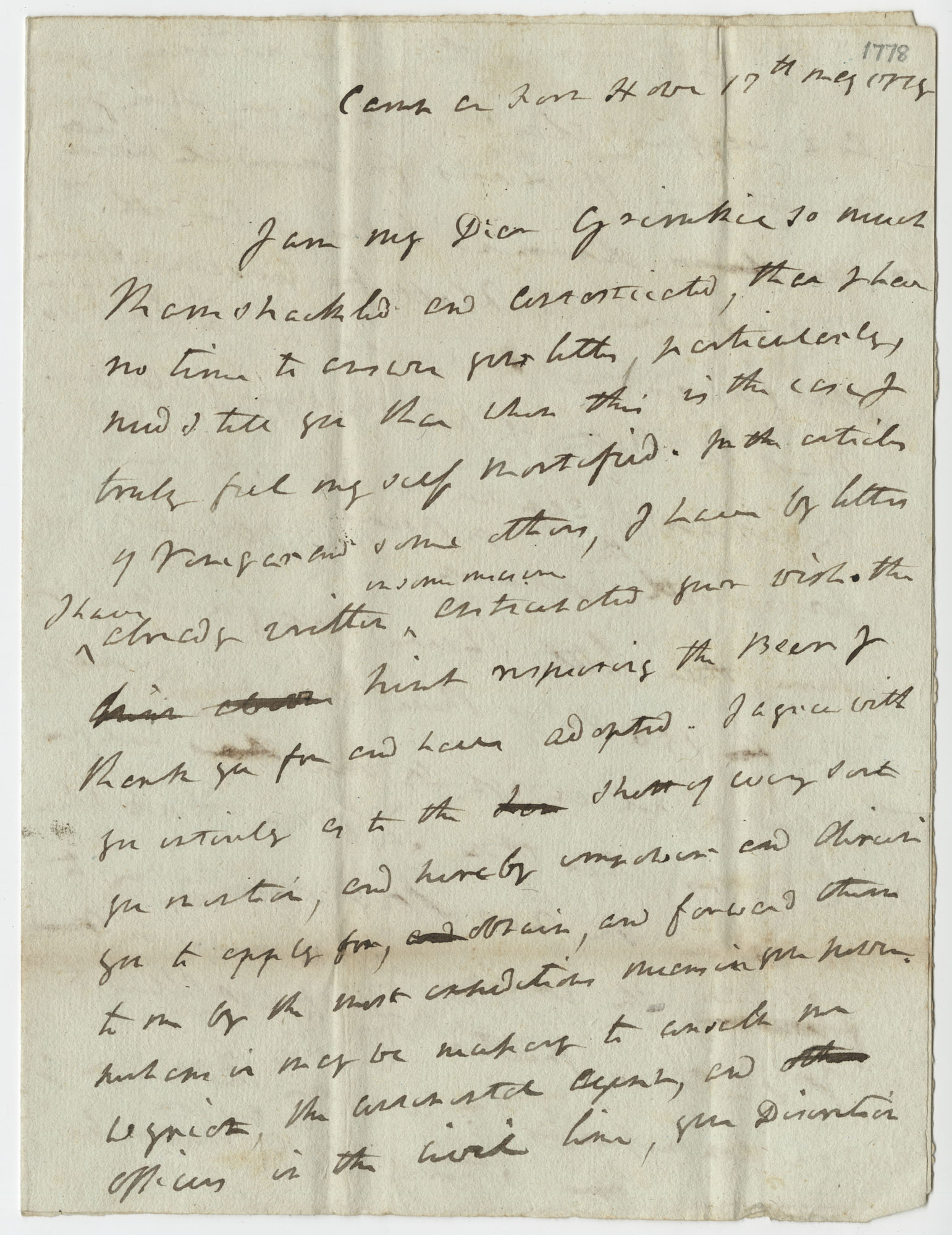 Letter from General Robert Howe to John F. Grimke, May 17, 1778