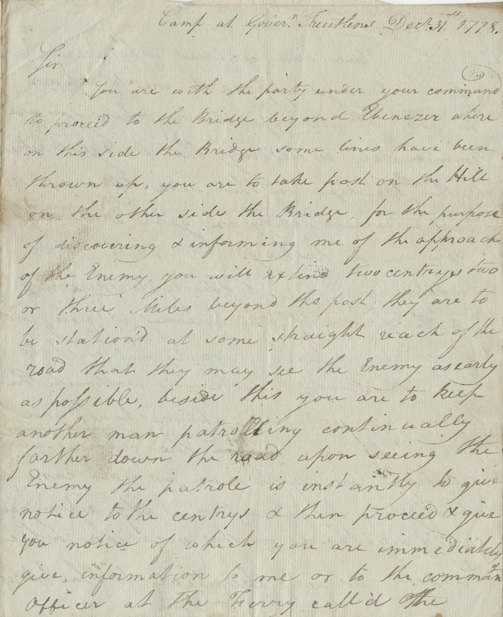 Letter written by Captain Joseph Warley, December 31, 1778