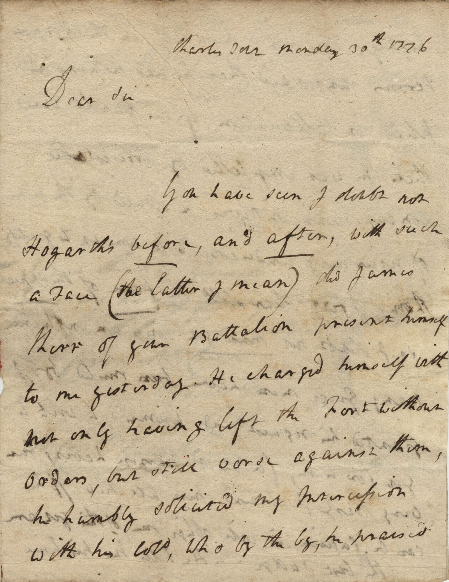 Letter from General Robert Howe to John F. Grimke, 1776