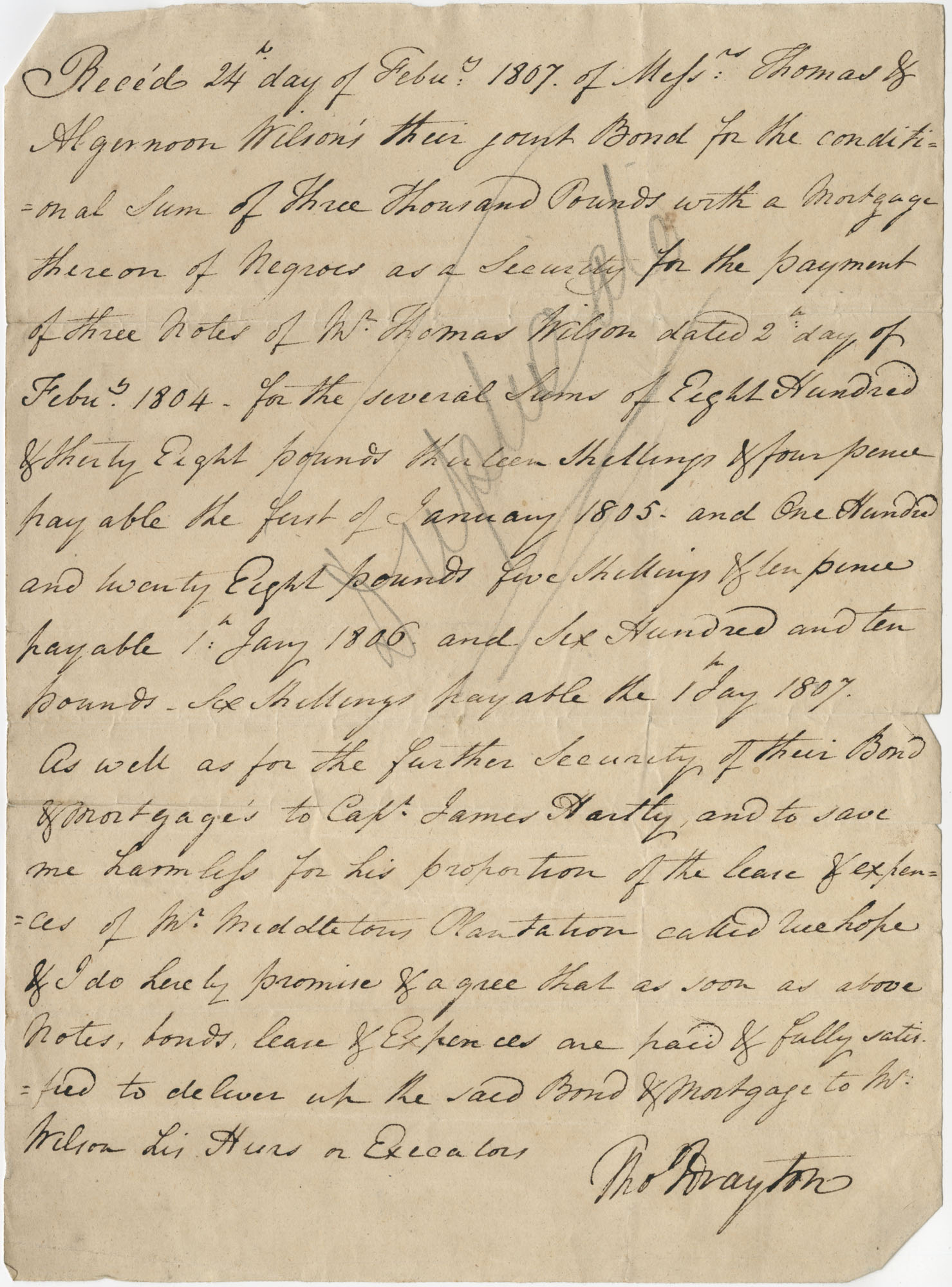 Promissory note from Thomas Drayton to return a security deposit to Algernon and Thomas Wilson once debts had been paid, February 24, 1807