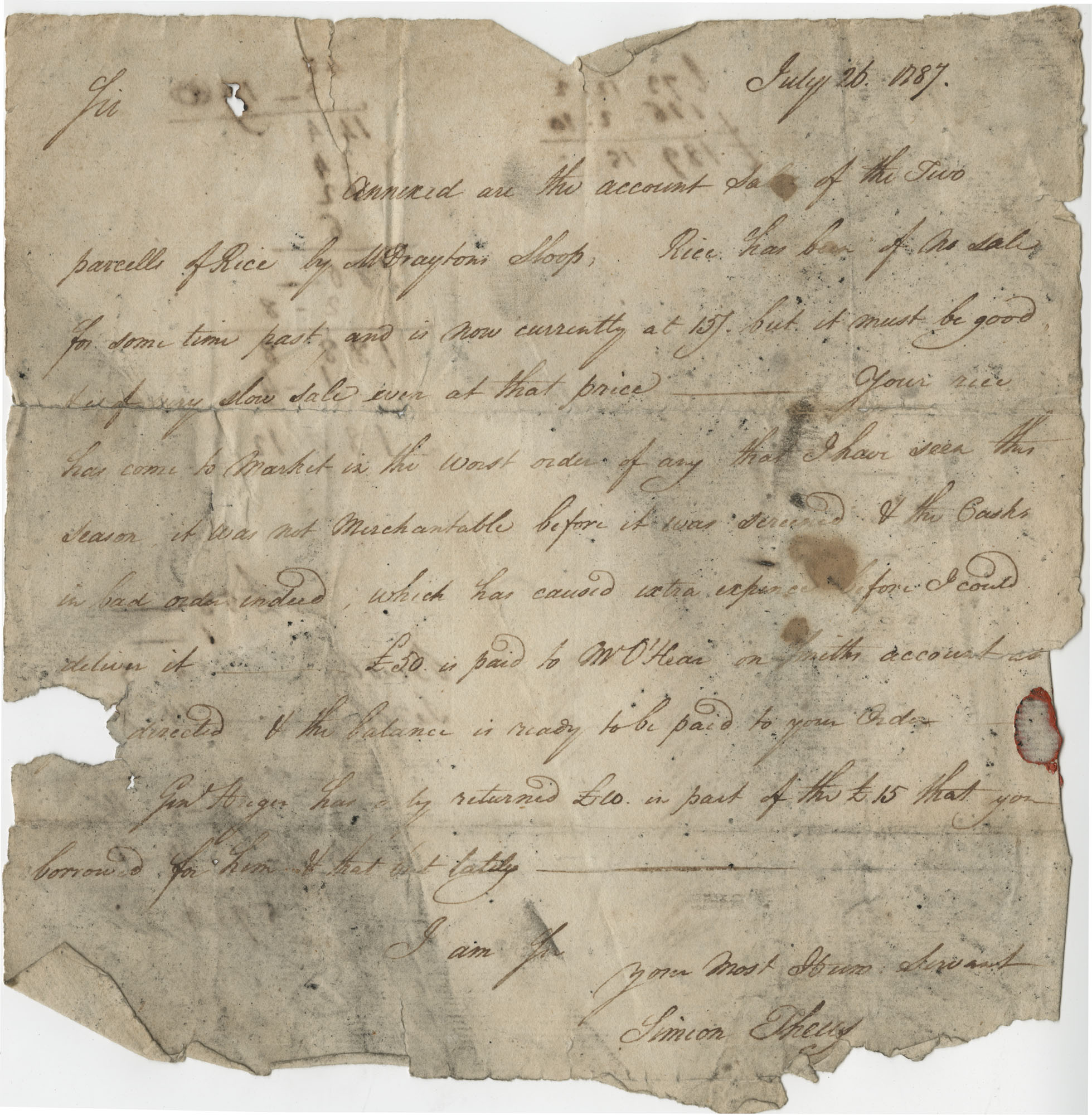 A letter from Simon Theus regarding the poor condition of John Wilson's shipments of rice, July 26, 1787