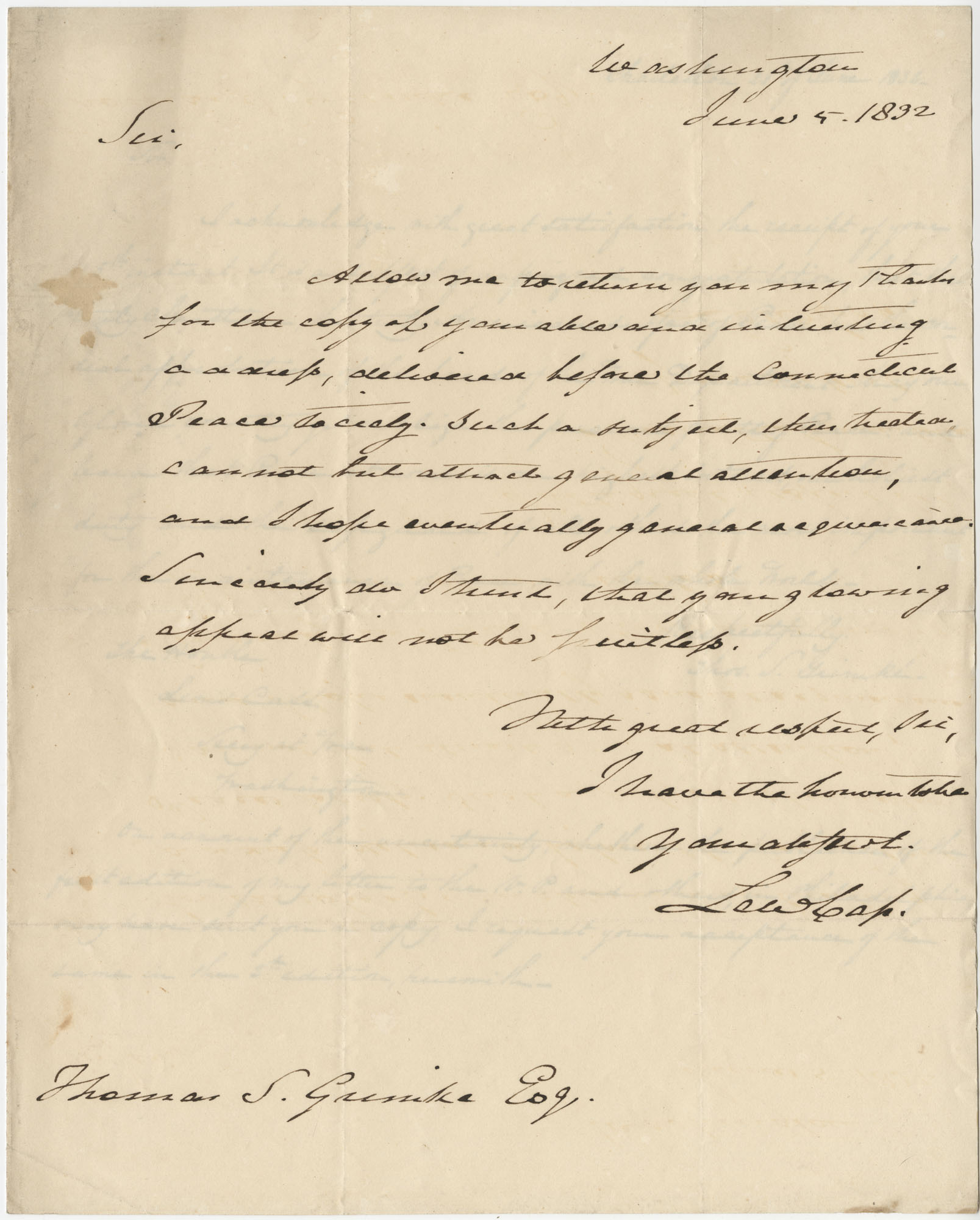 Letter from Lewis Cass to Thomas S. Grimke, June 5, 1832
