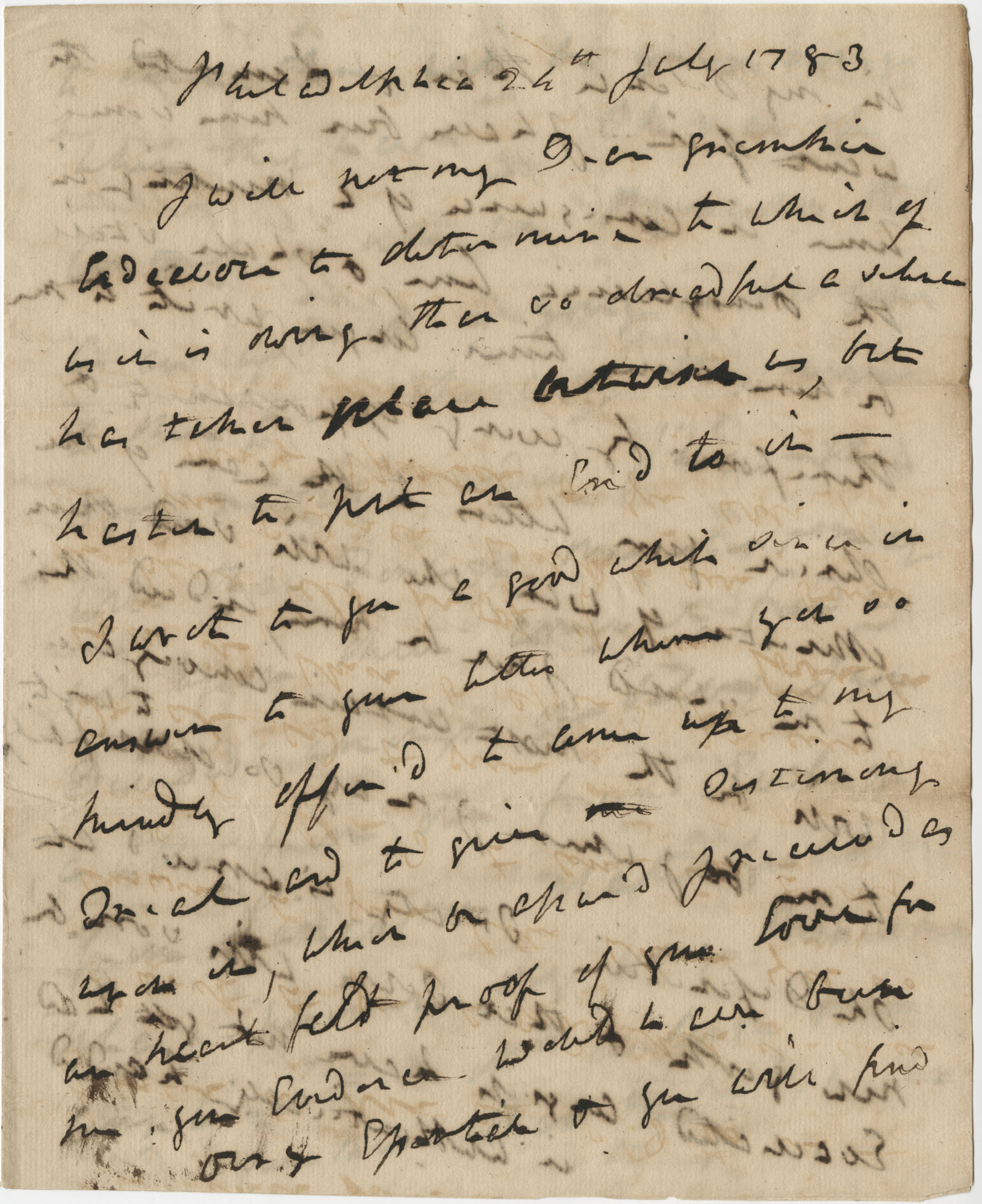 Letter from General Robert Howe to John F. Grimke, July 24, 1783