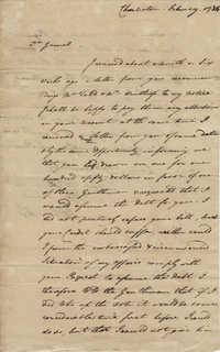 Letter from John F. Grimke to General Robert Howe, February 1784