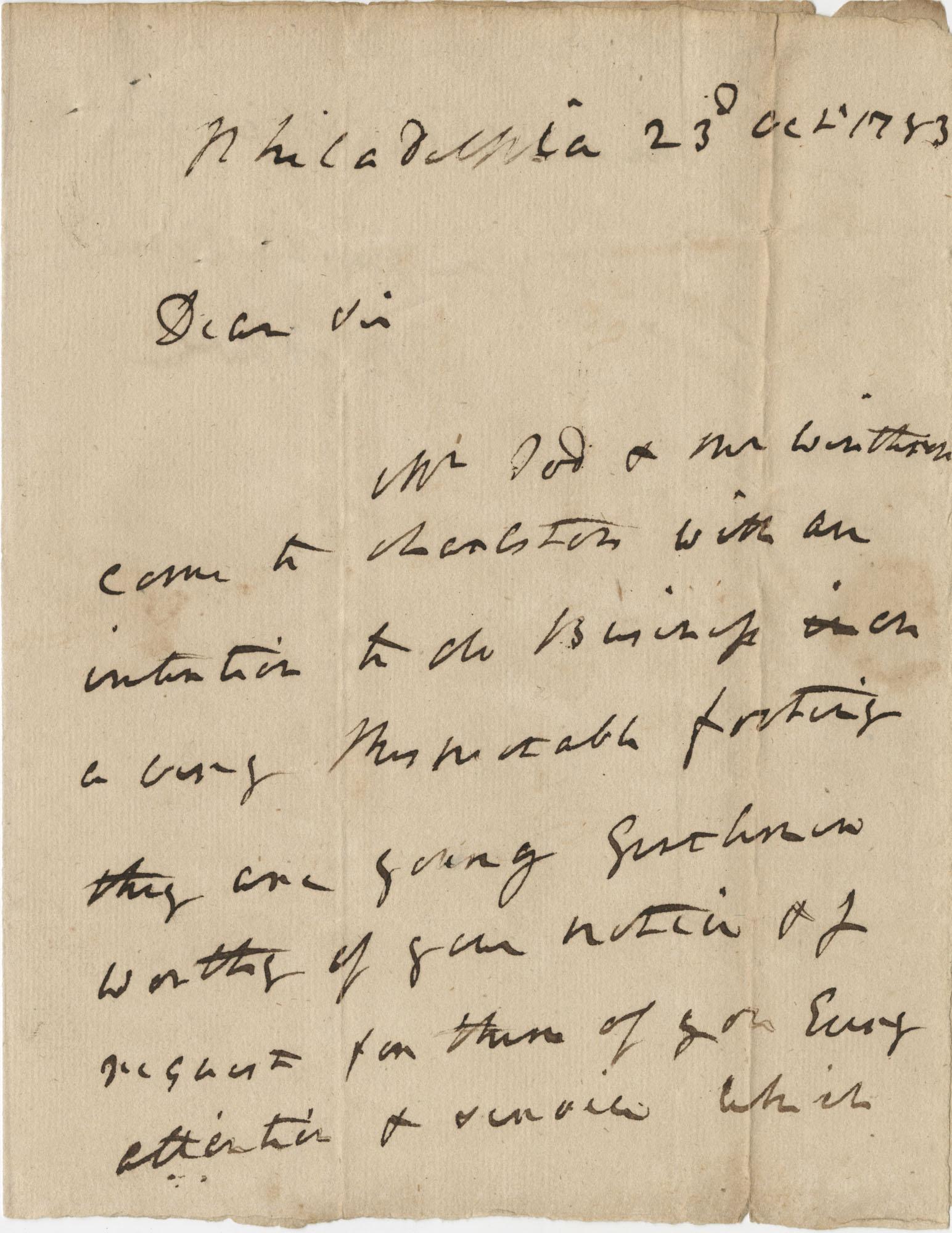 Letter from General Robert Howe to John F. Grimke, October 23, 1783