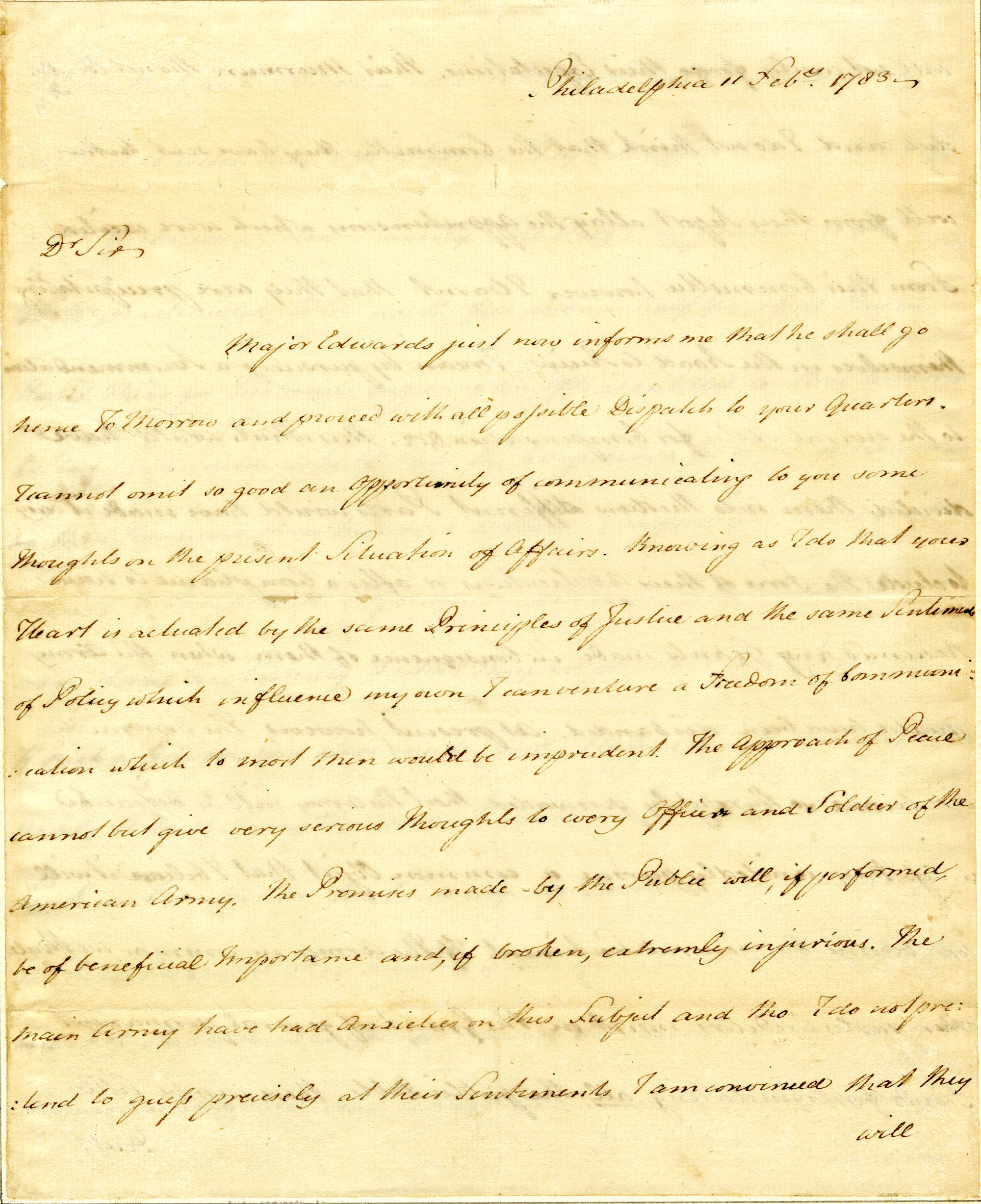 Letter from Gouverneur Morris to Nathanael Greene