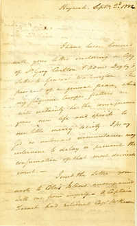 Letter from Nathaniel Pendleton to Nathanael Greene