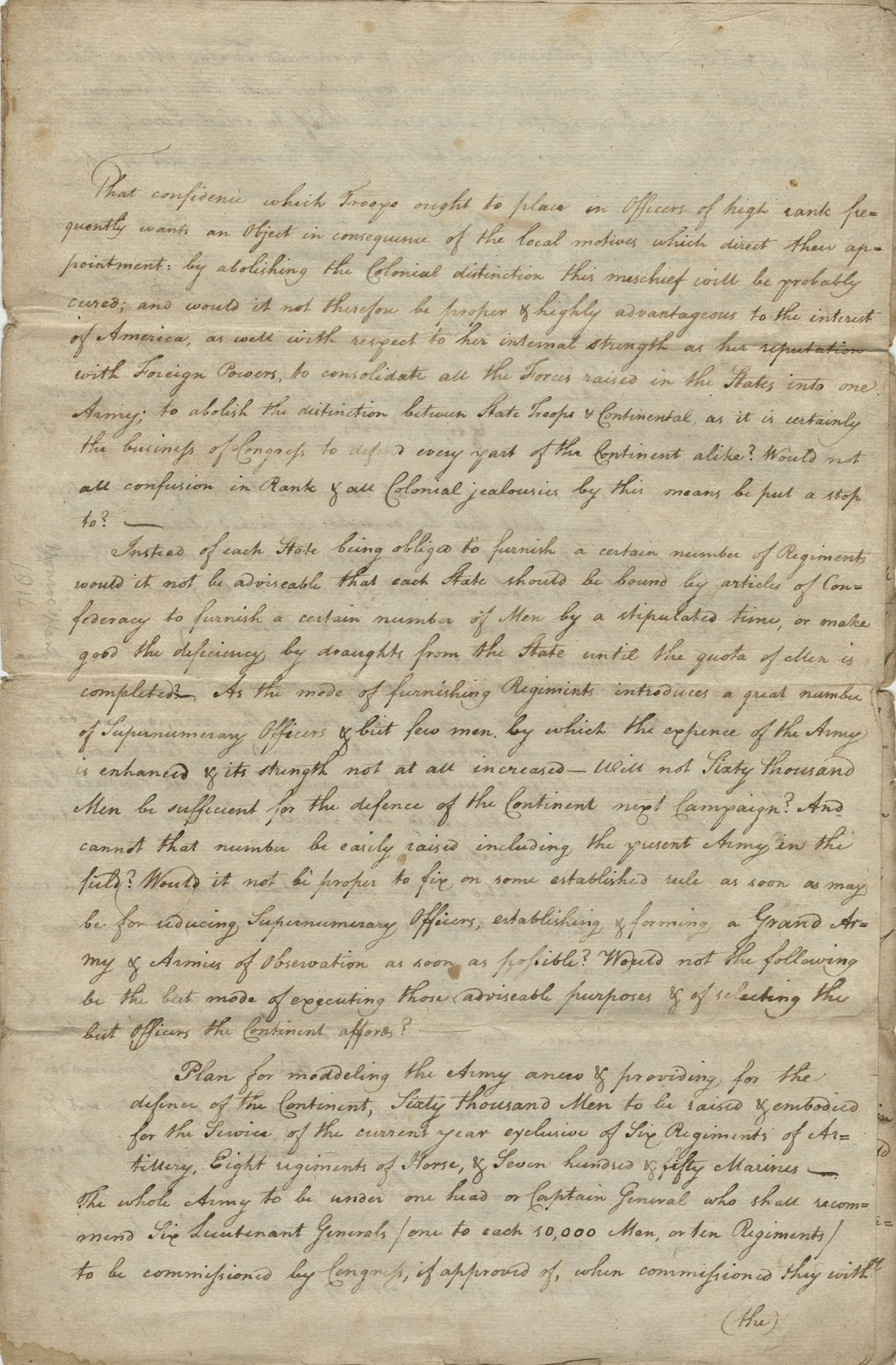 Letter from Colonel Roberts to General George Washington, Included copy of Washington's initial correspondence