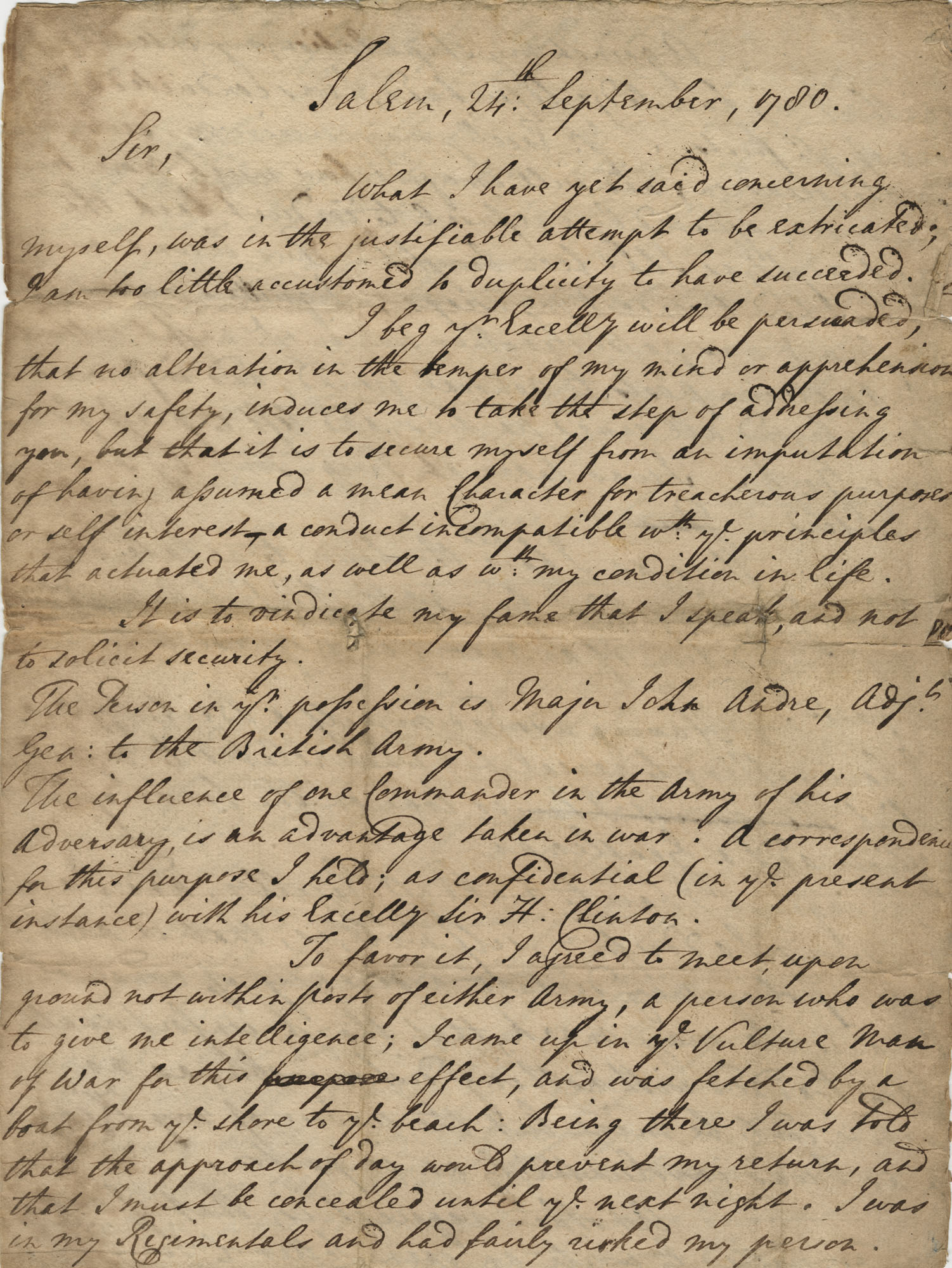 Copy of letters written between General George Washington and Brigadier General Clinton sent to William Henderson, September-October 1780