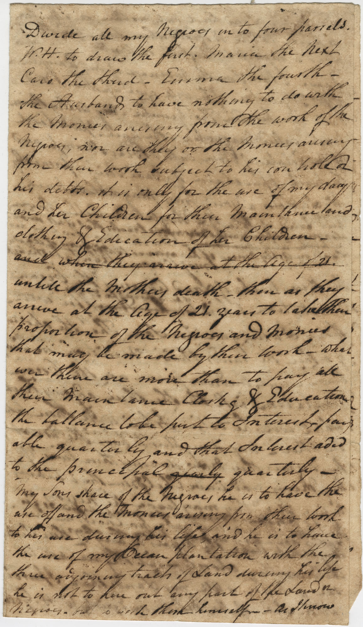 Portion of a will by Thomas Drayton[?], unsigned, undated