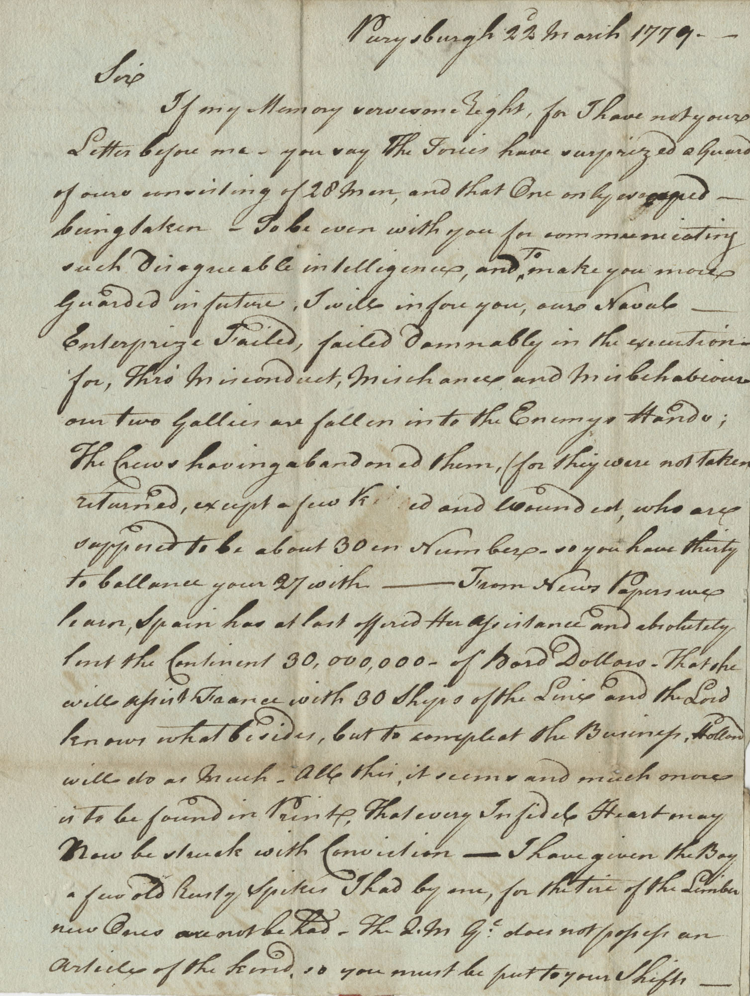 Letter from Colonel George Roberts to John F. Grimke, March 22, 1779
