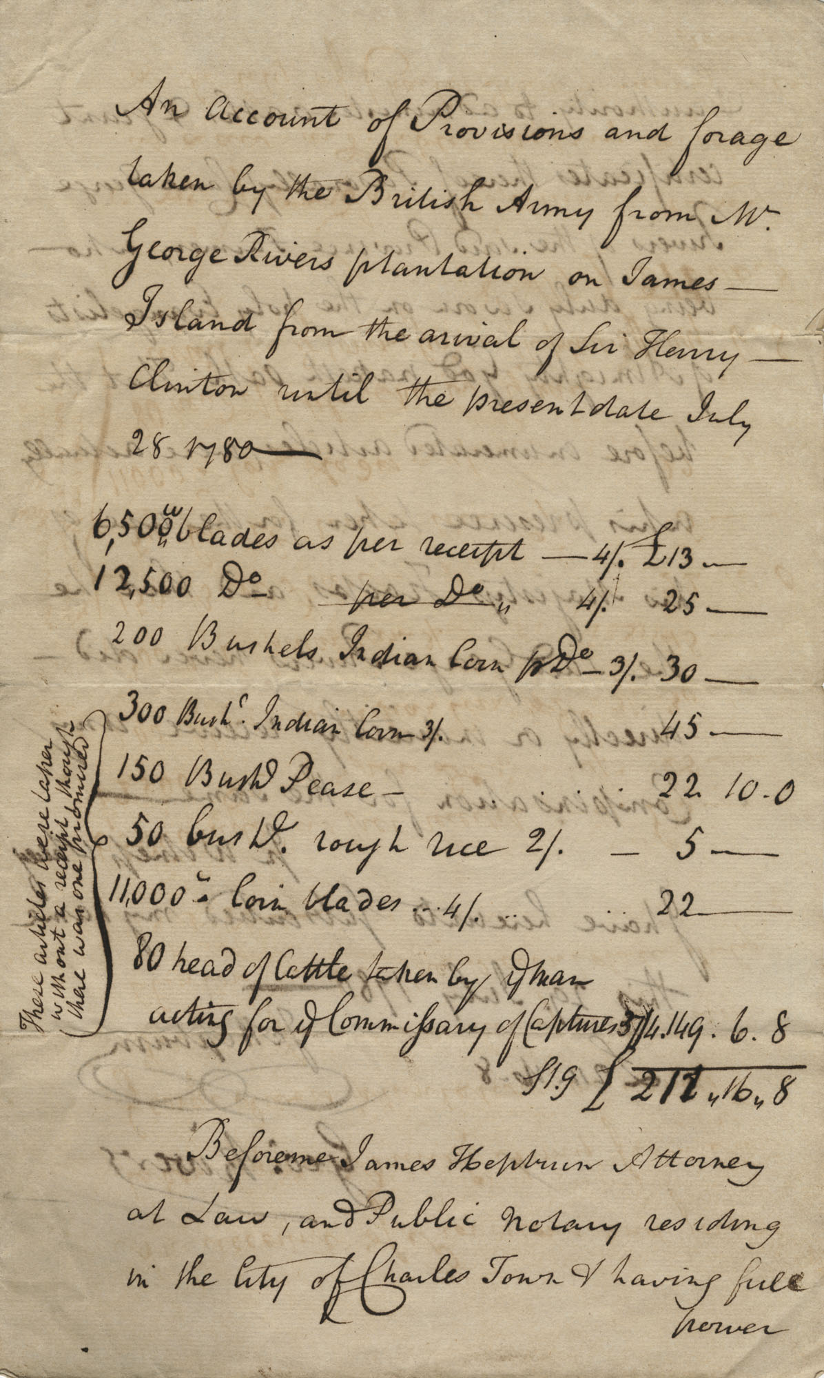An account of provisions and forage taken by the British Army from W. George Rivers plantation on James Island, July 29, 1780