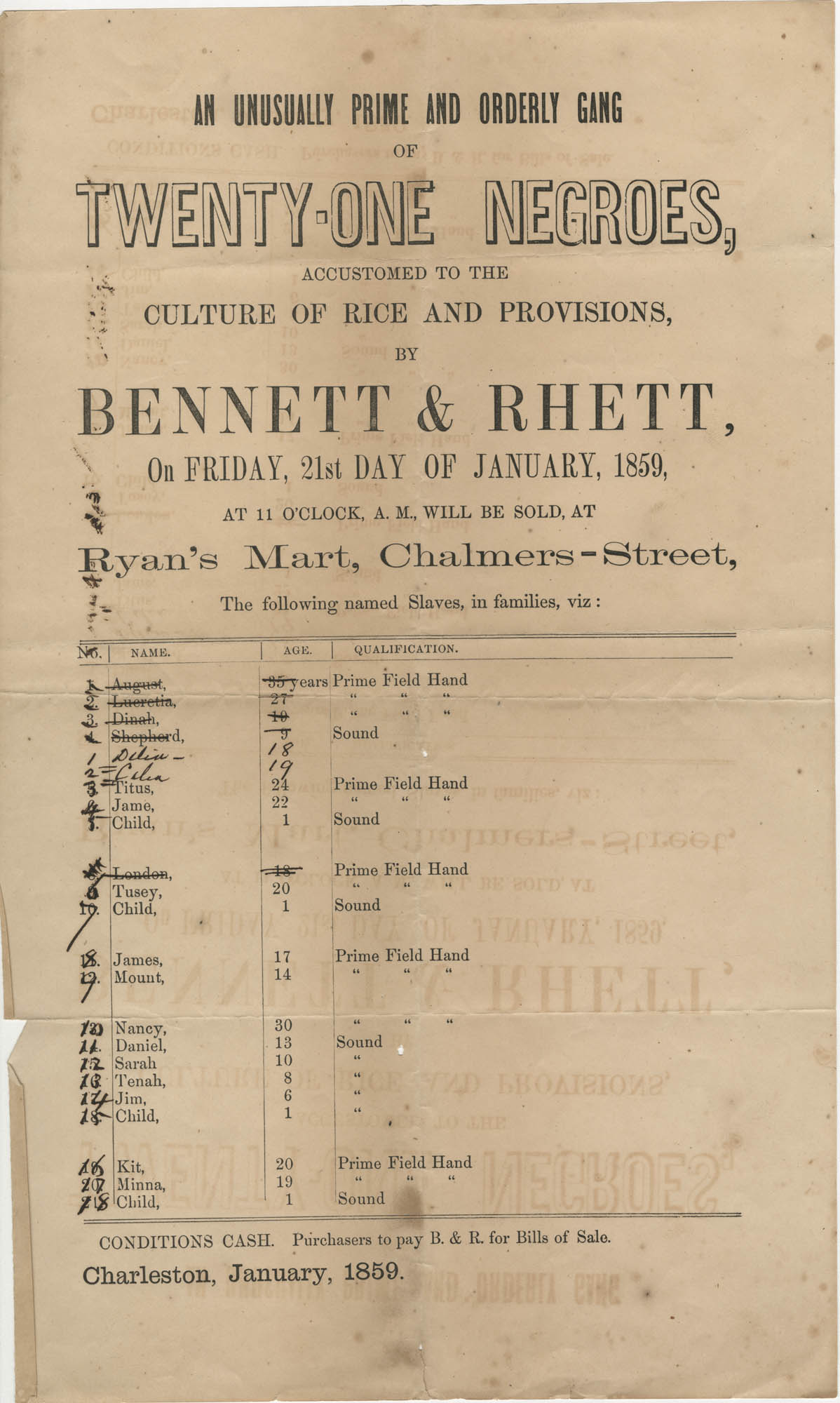Bennett and Rhett slave sale broadside