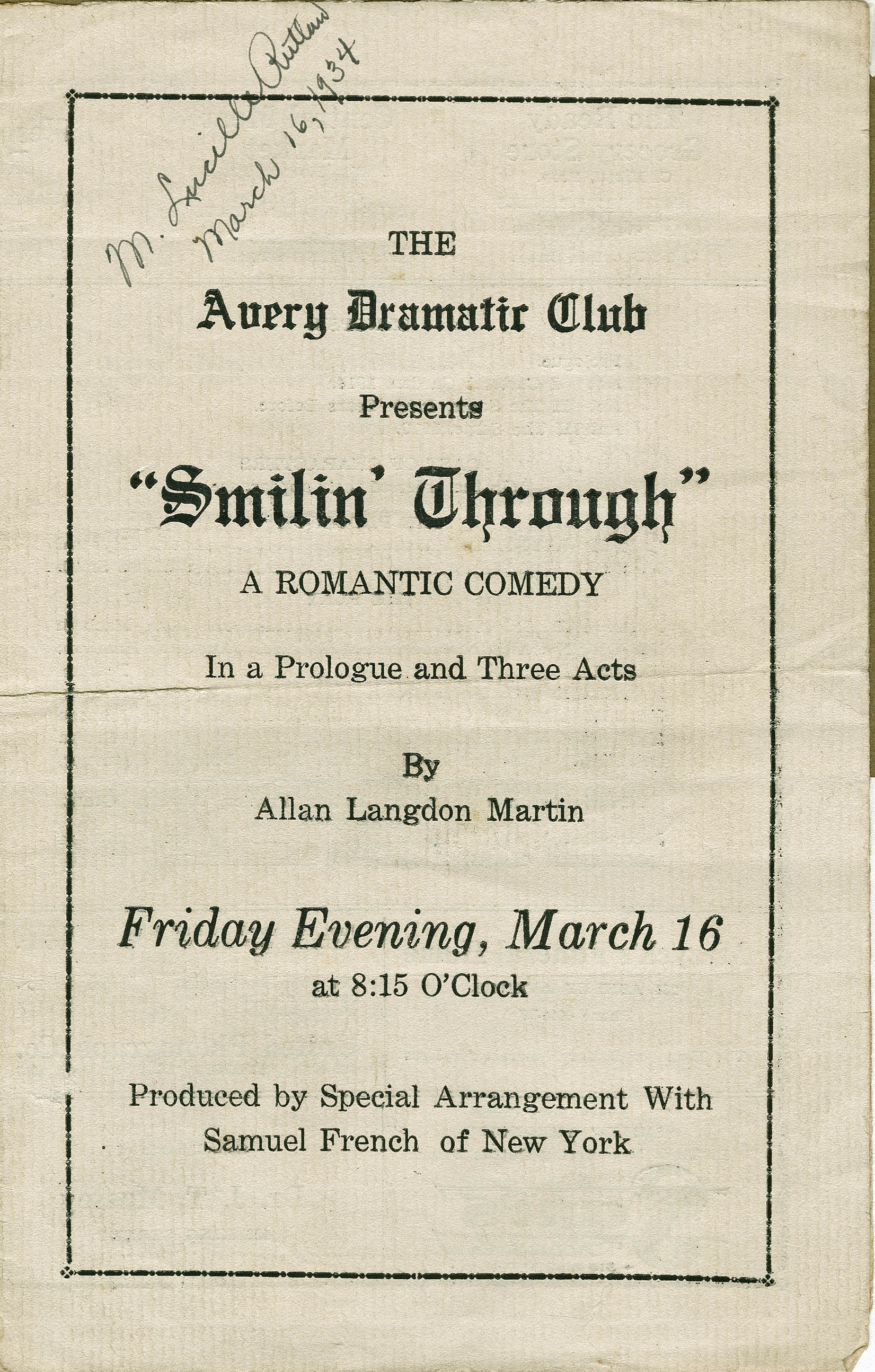 Program for the Avery Dramatic Club's presentation of