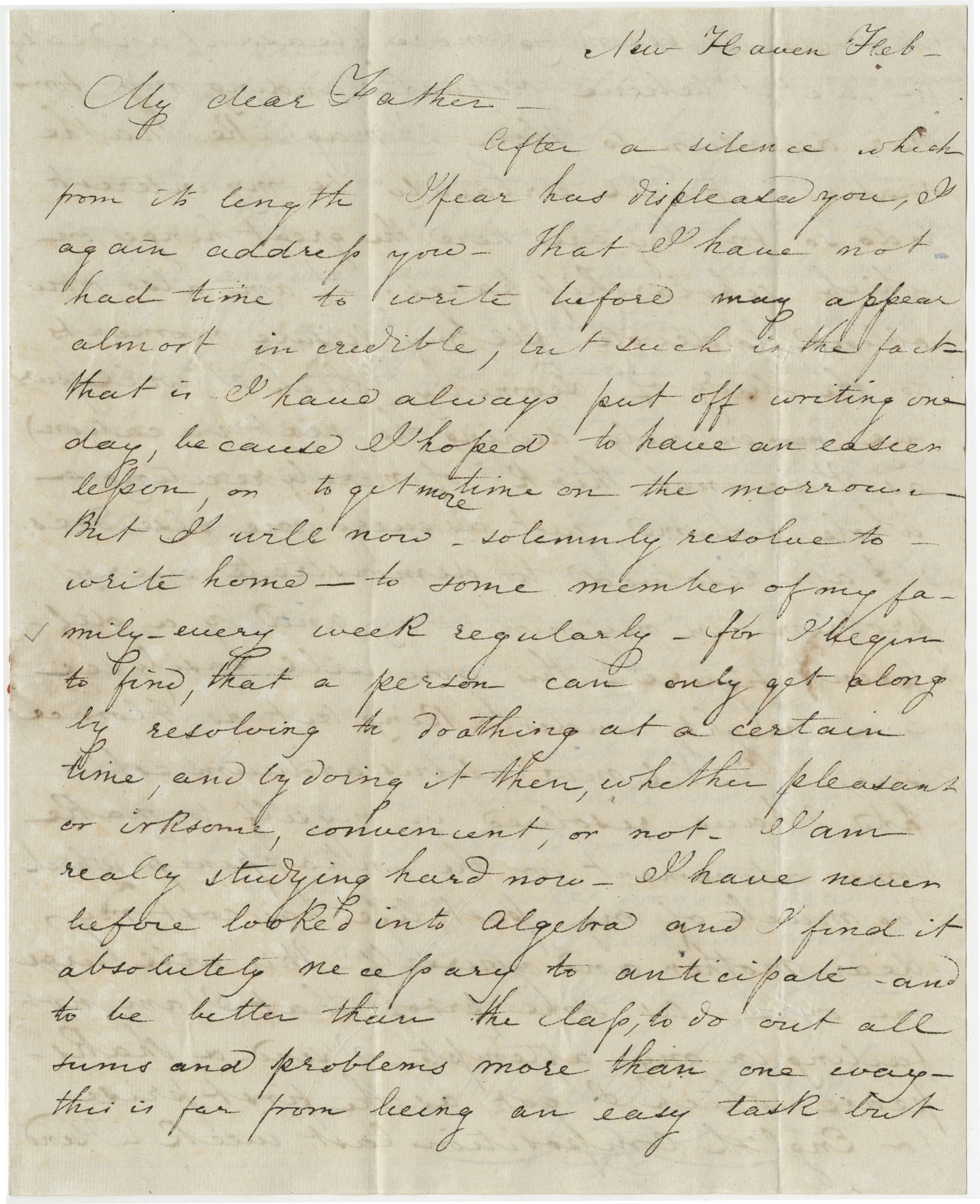 Letter from Drayton Grimke to his father, Thomas S. Grimke, 1838