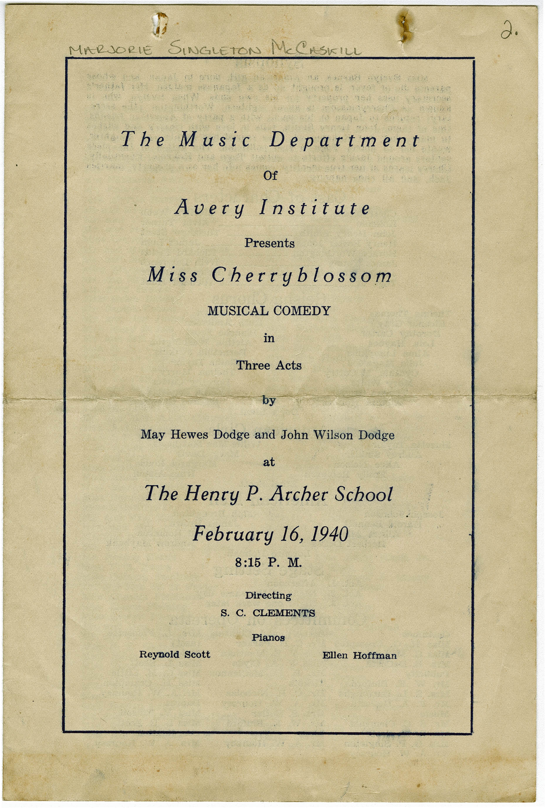 Program for presentation of the musical comedy
