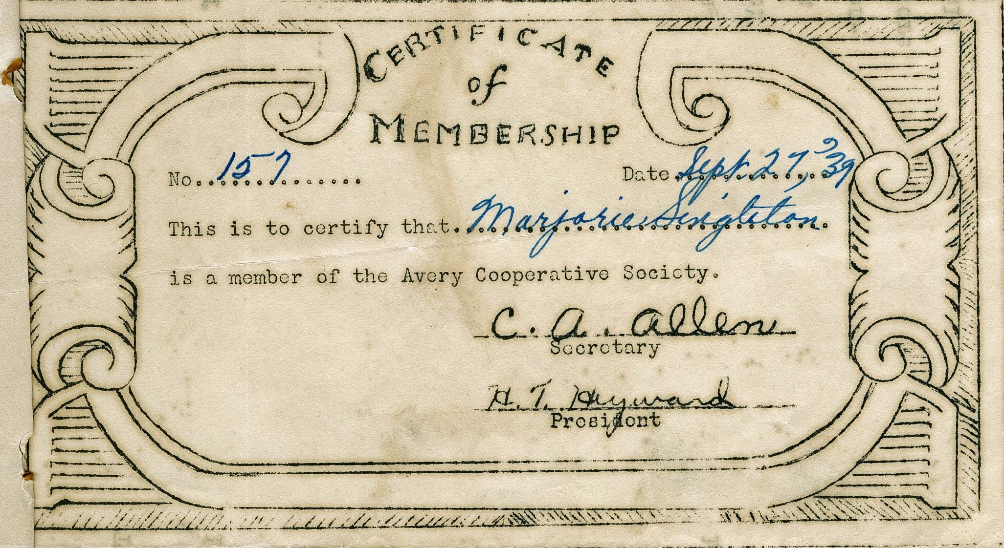 Avery Cooperative Society membership materials