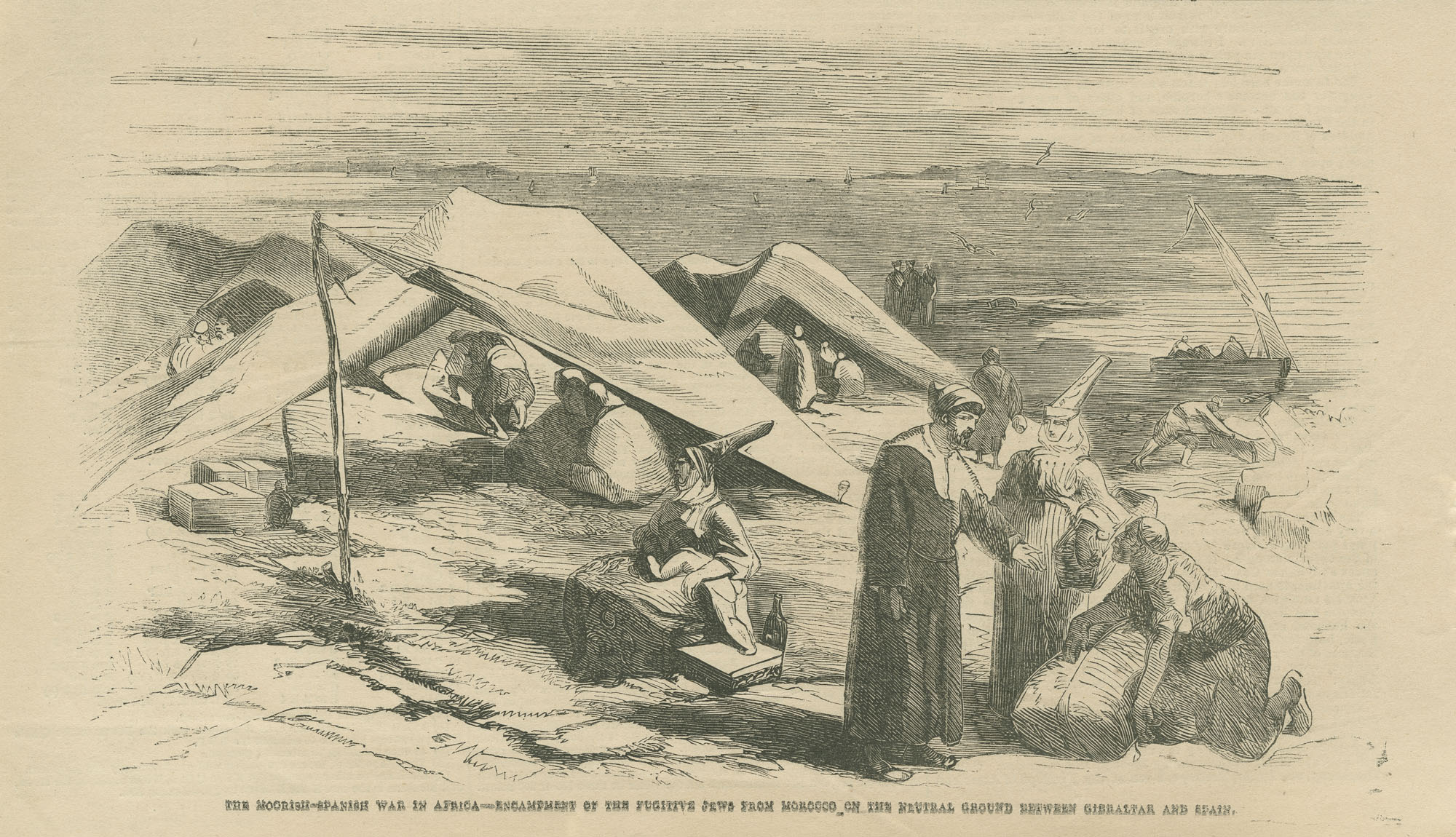 The Moorish-Spanish War in Africa--Encampment of the fugitive Jews from Morocco on the neutral ground between Gibraltar and Spain