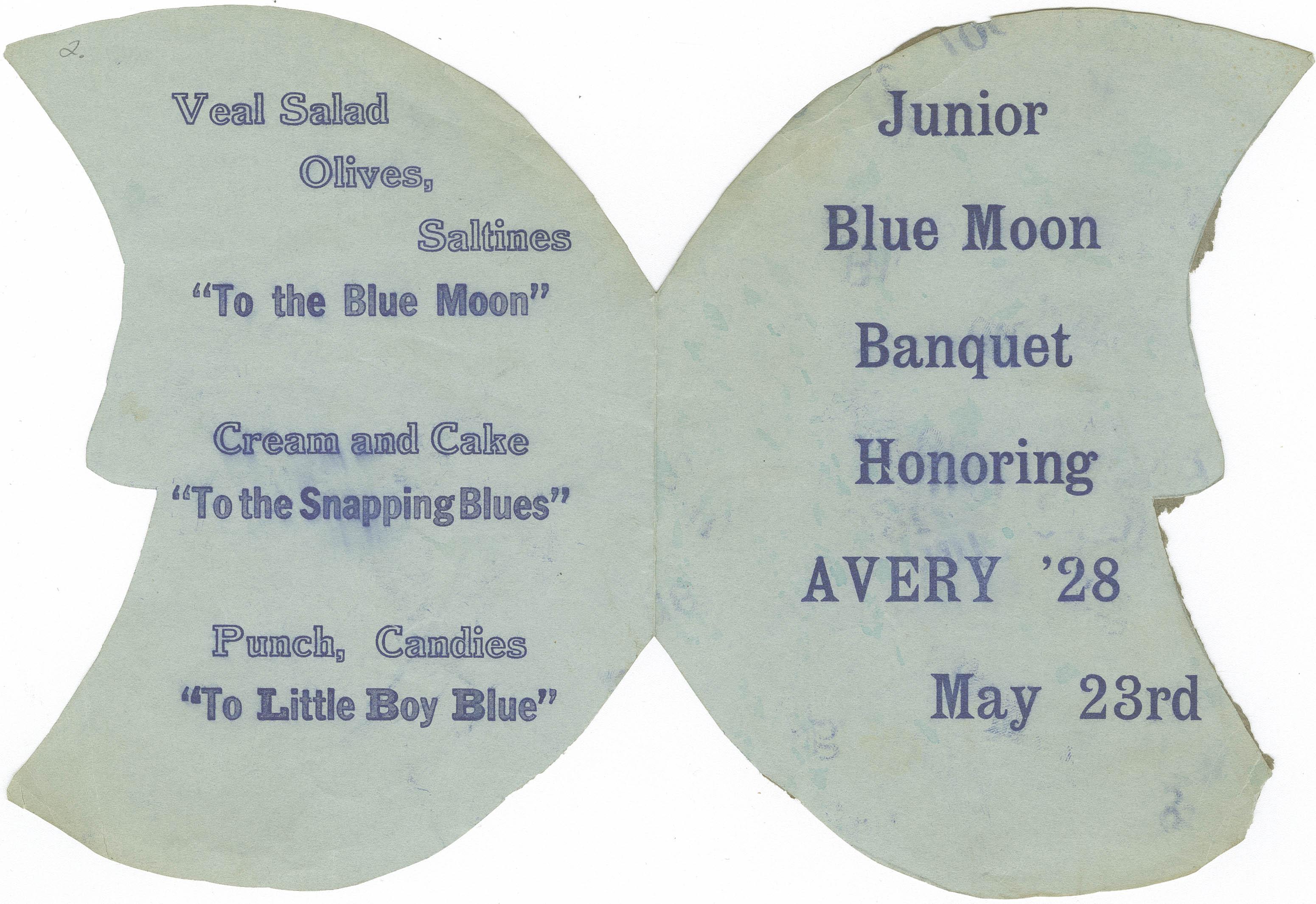Menu for the Junior Blue Moon Banquet
