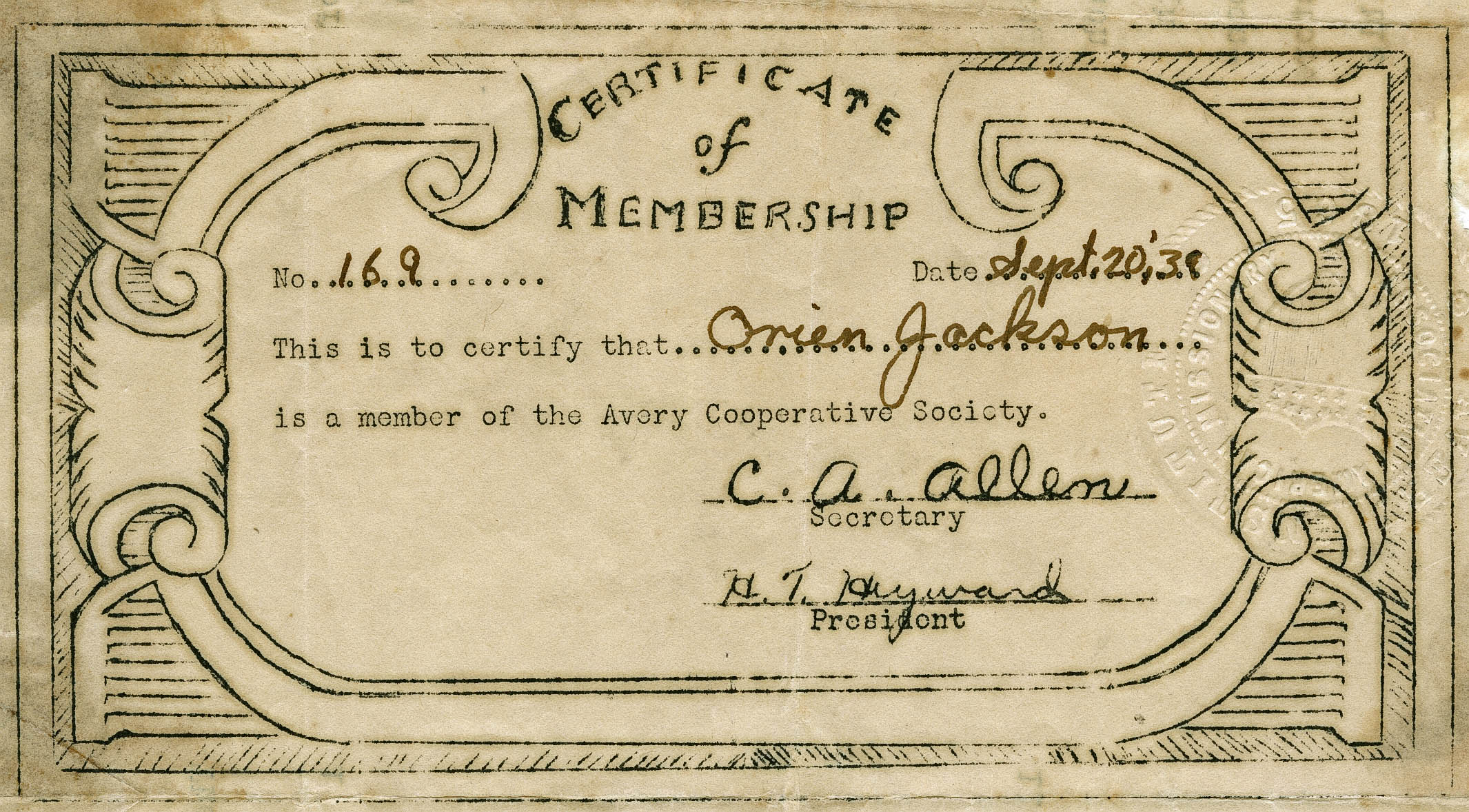 Membership certificate for the Avery Cooperative Society