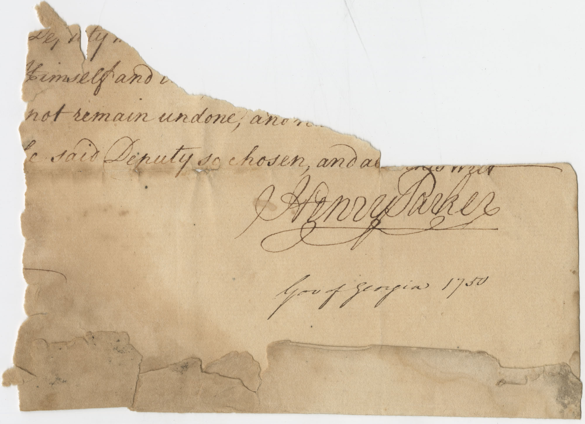 Thomas S. Grimke Autograph Collection, autograph of Henry Parker, Governor of Georgia, 1750