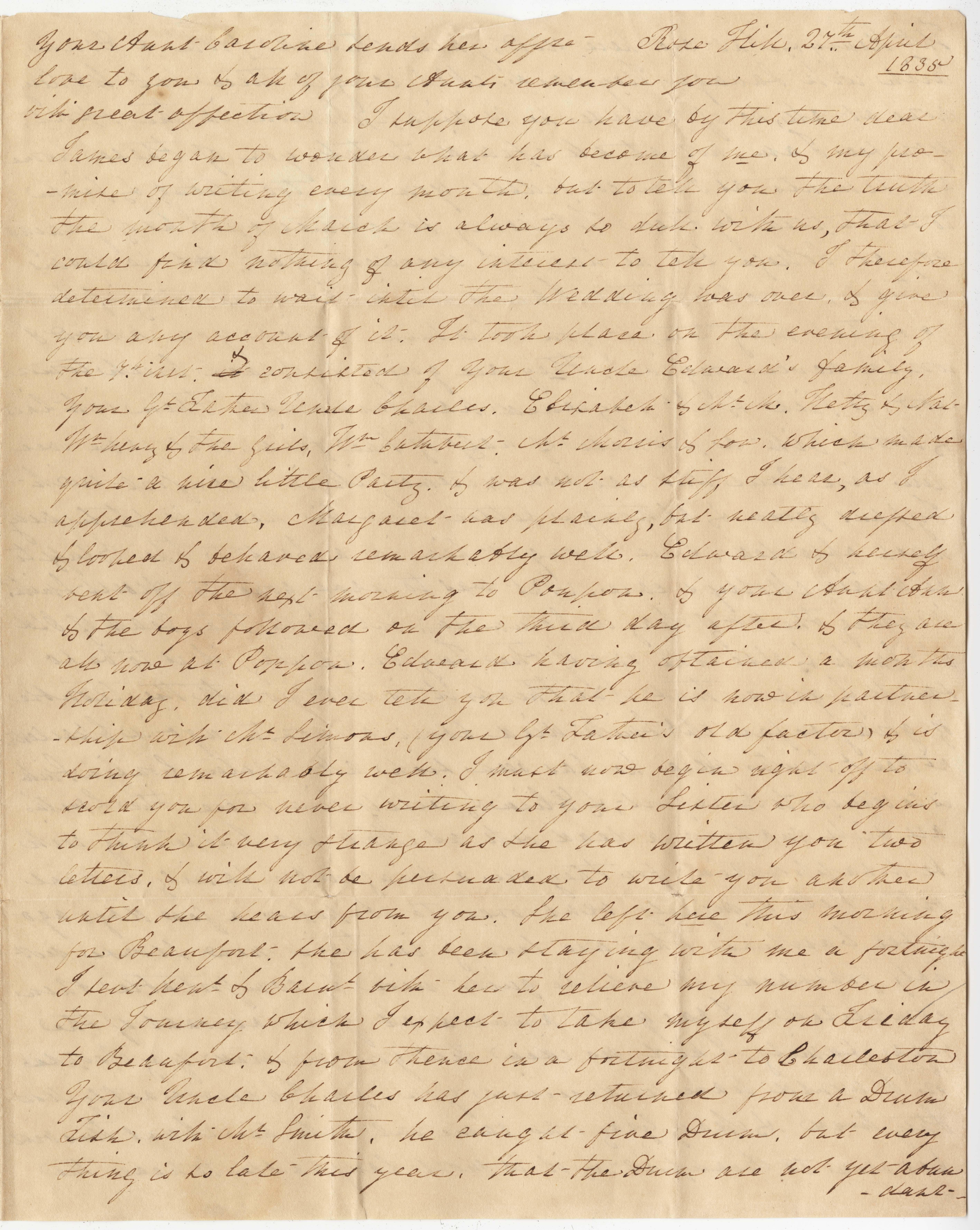 056. Letter to James B. Heyward -- April 27, 1835 (sender unknown)
