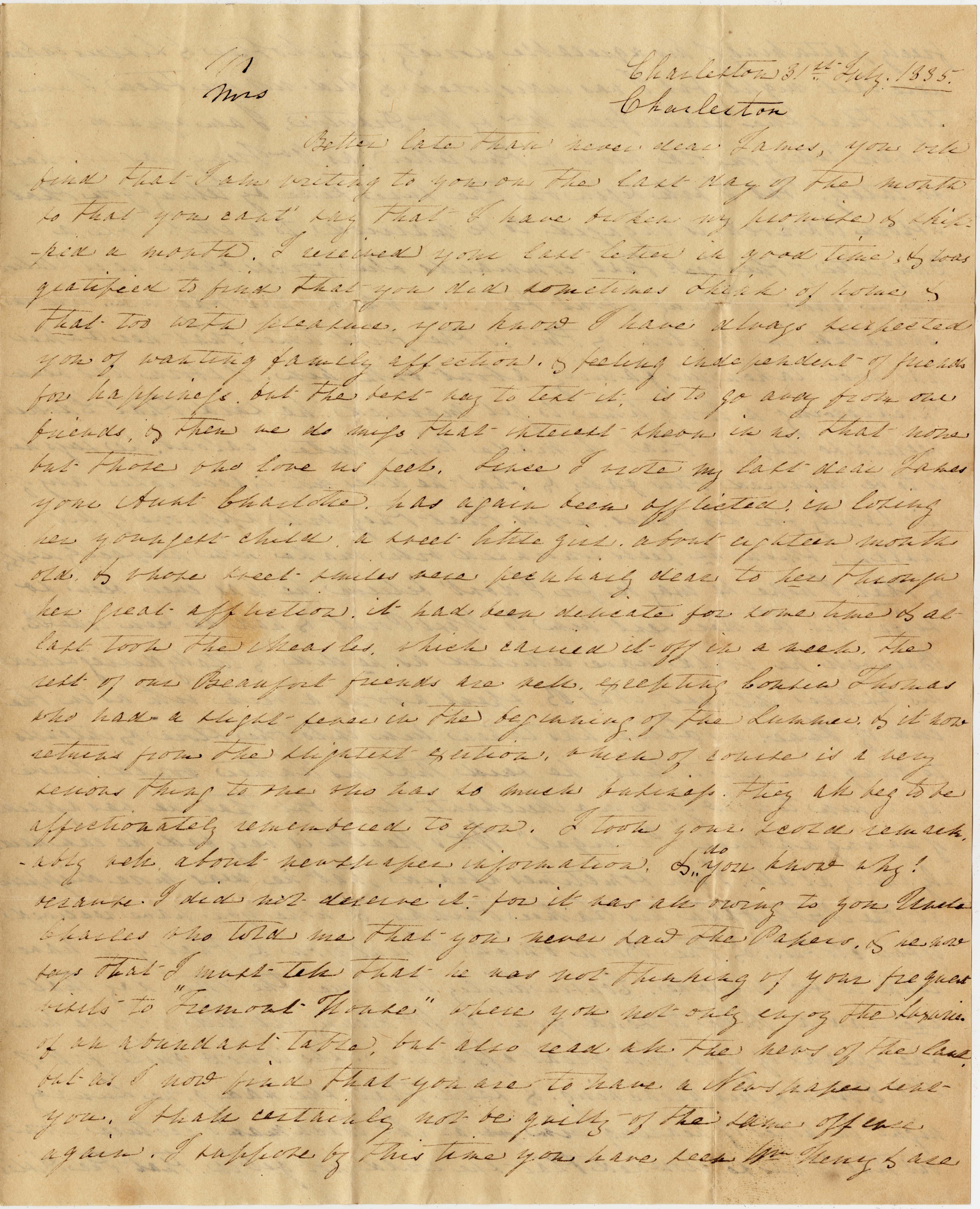 059. Aunt to James B. Heyward -- July 31, 1835