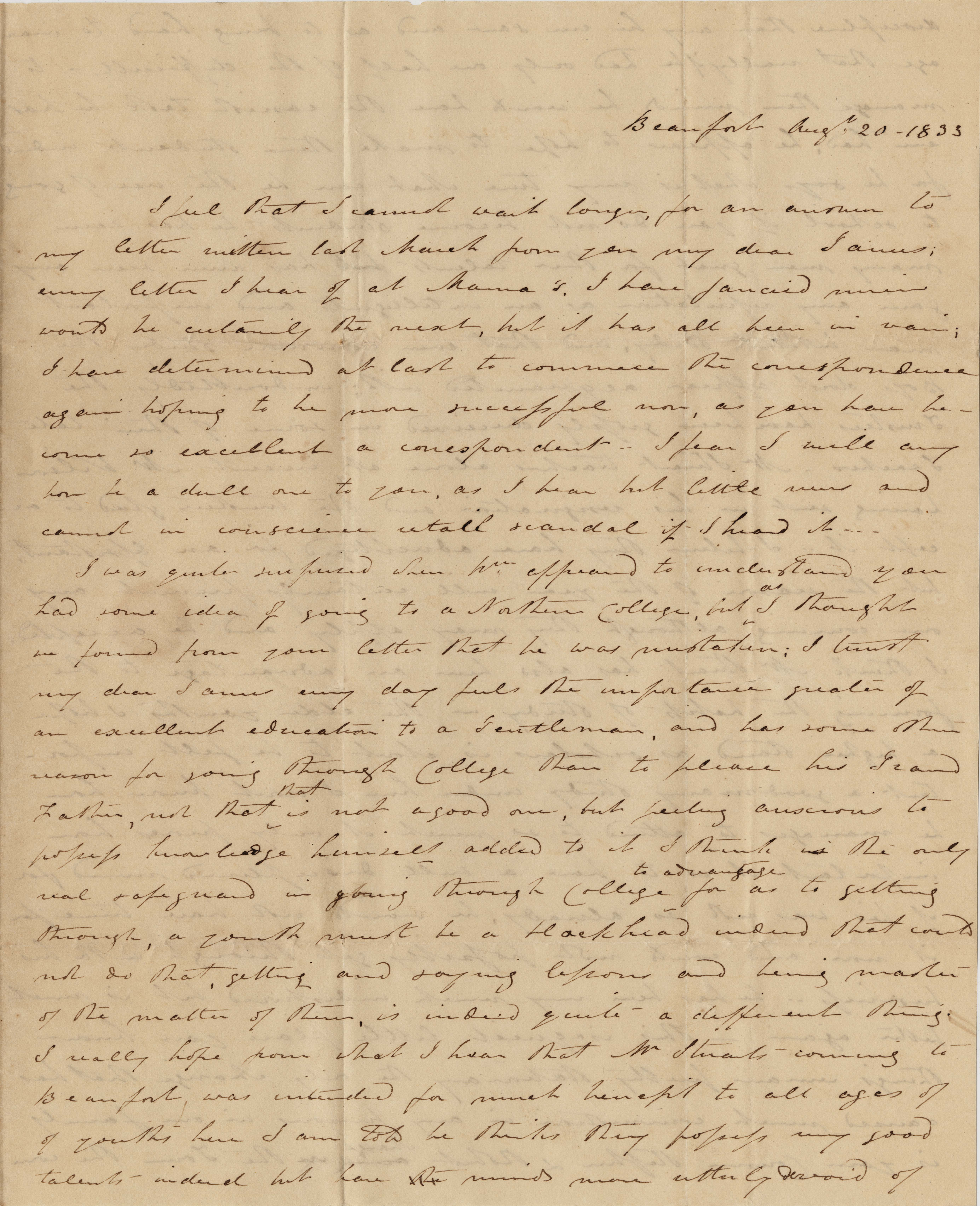 043a. Aunt to James B. Heyward -- August 20, 1833