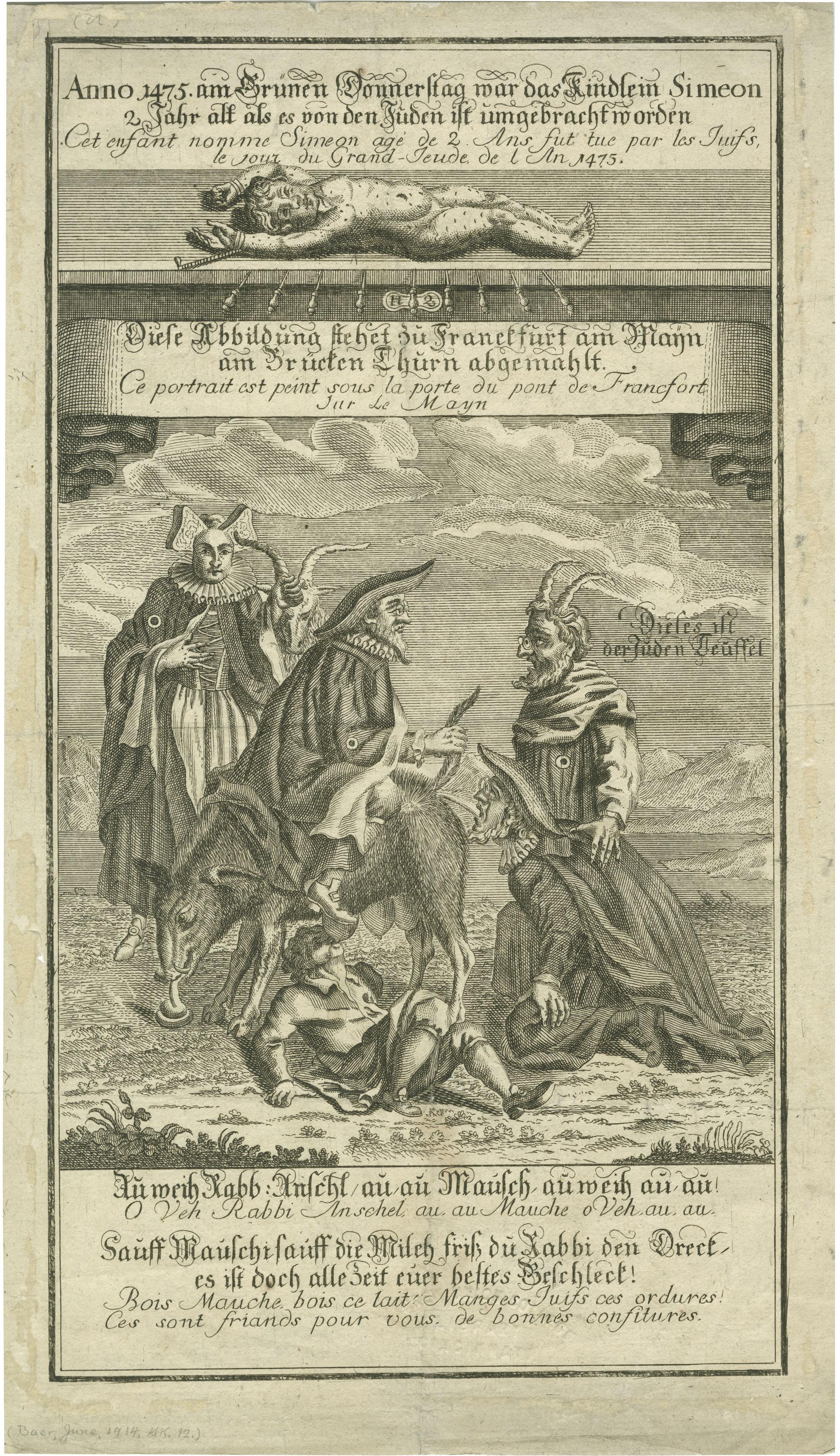 Anno 1475 am Grünen Donnerstag war das Kindlein Simeon 2 Jahr alt als es von den Juden ist umgebracht worden