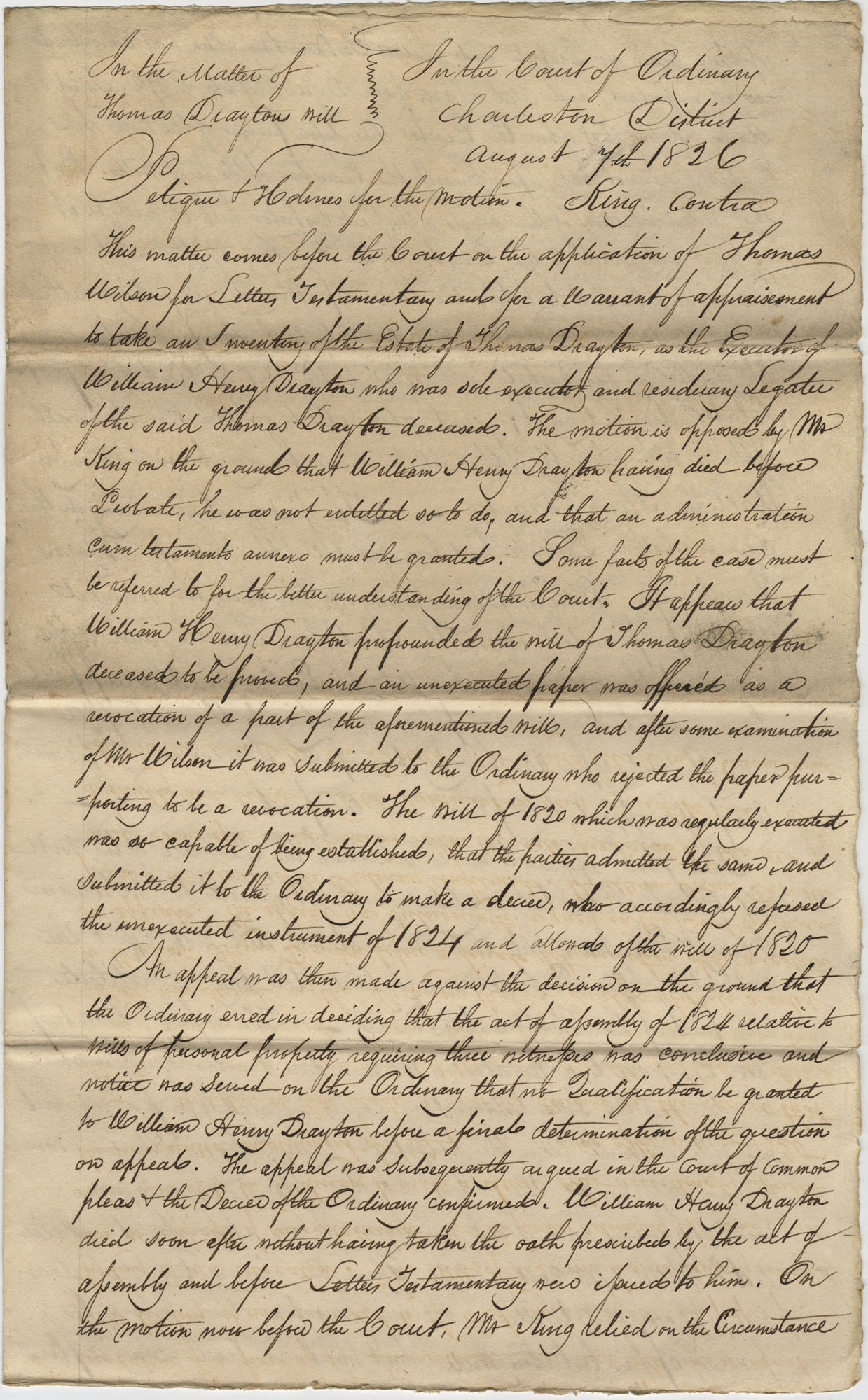 A copy of a decree in the Court of the Ordinary in Charleston, South Carolina, August 7, 1826