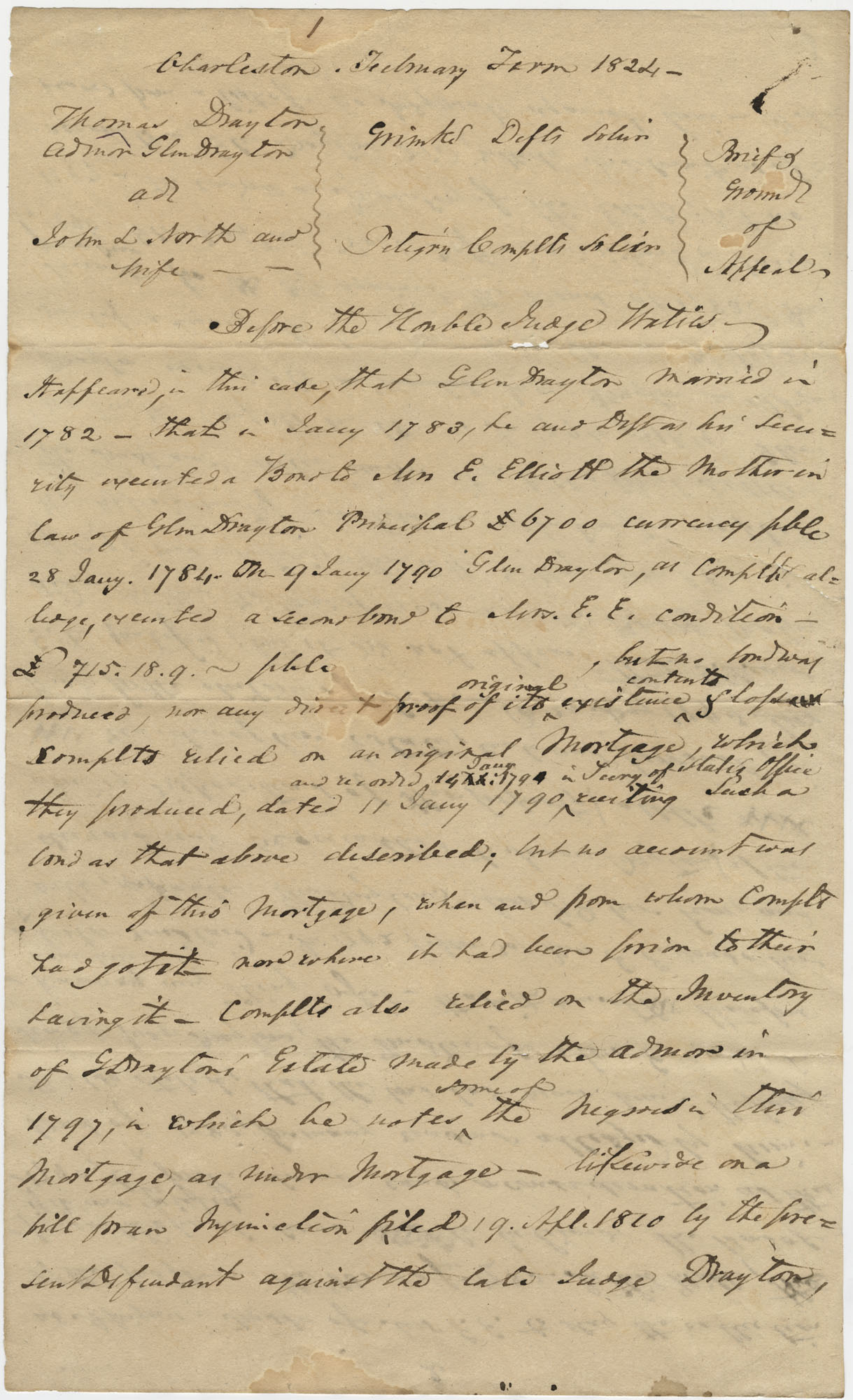 Legal Grounds of Appeal for a court decision regarding the debt of the estate of Glen Drayton, February 1824