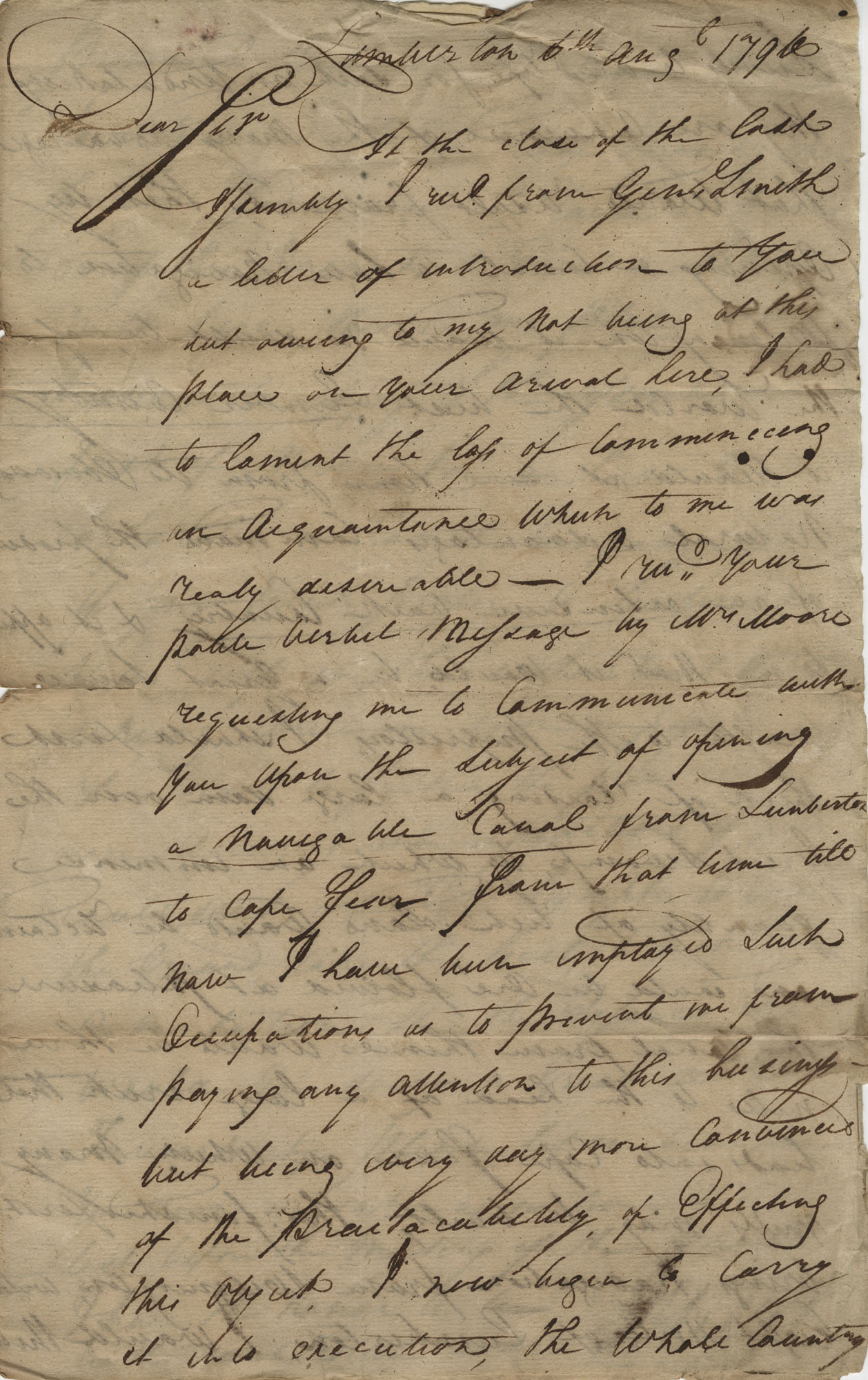 Letter to John F. Grimke from General Willis, August 6, 1796