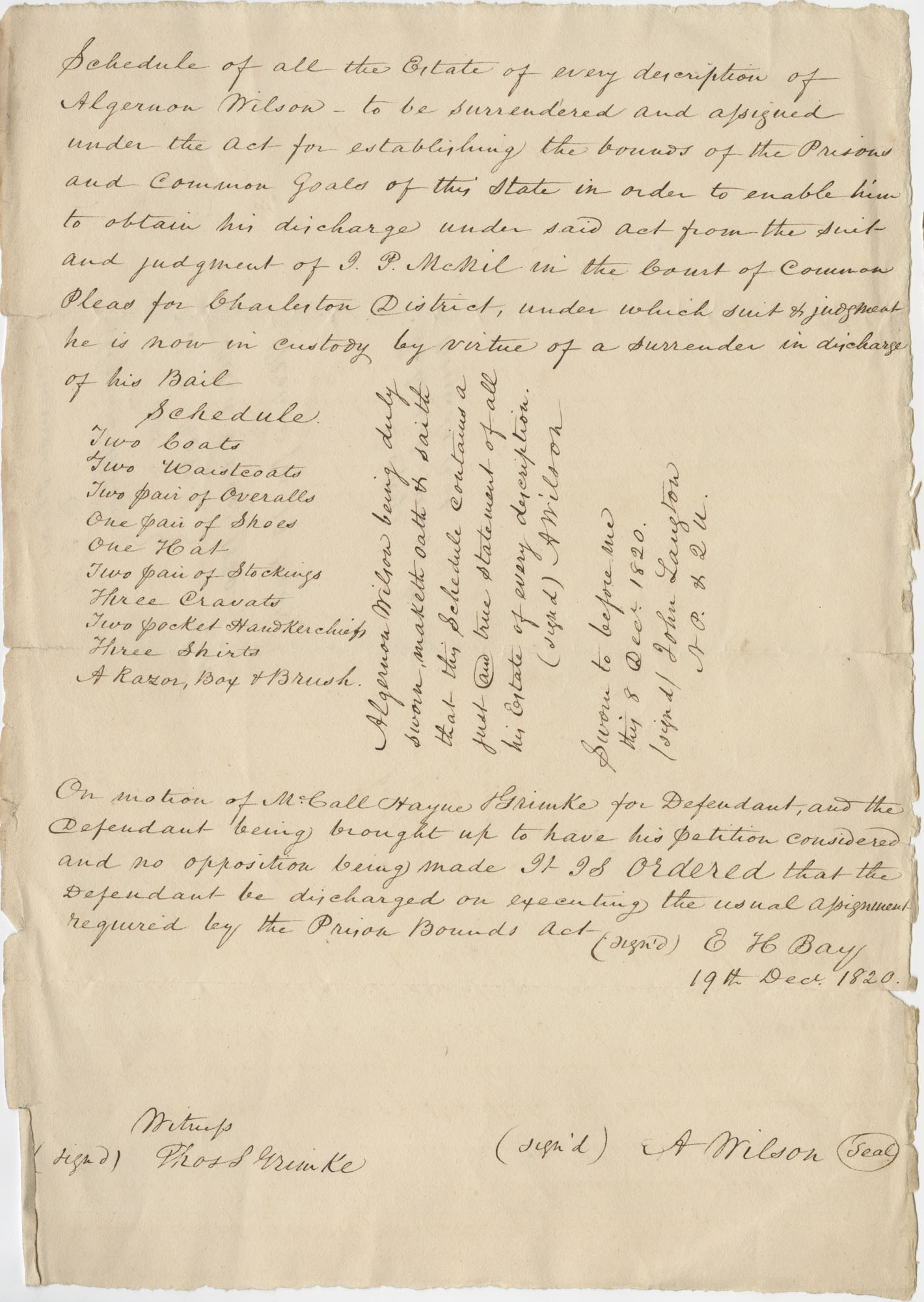 List of items in his estate to be surrendered by Algernon Wilson to ensure his release from jail, December 19, 1820