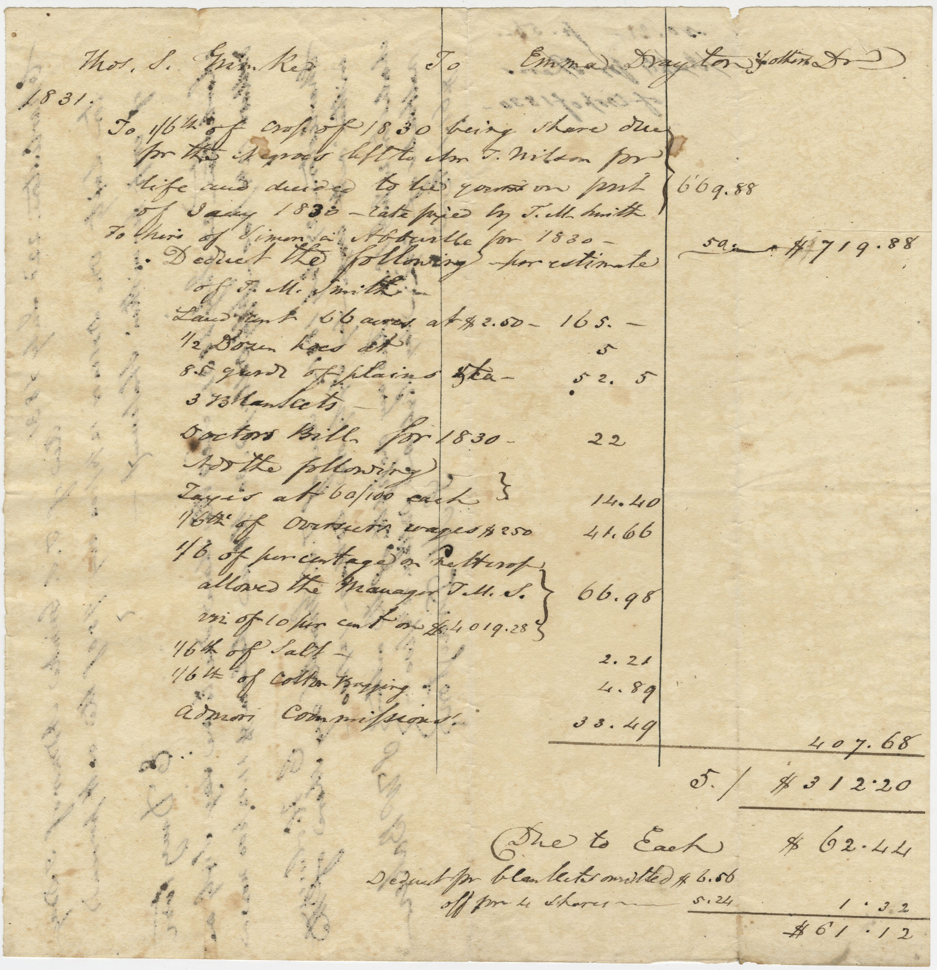 Receipt of Shares of Crop from Thomas Grimke to Emma Drayton, 1831