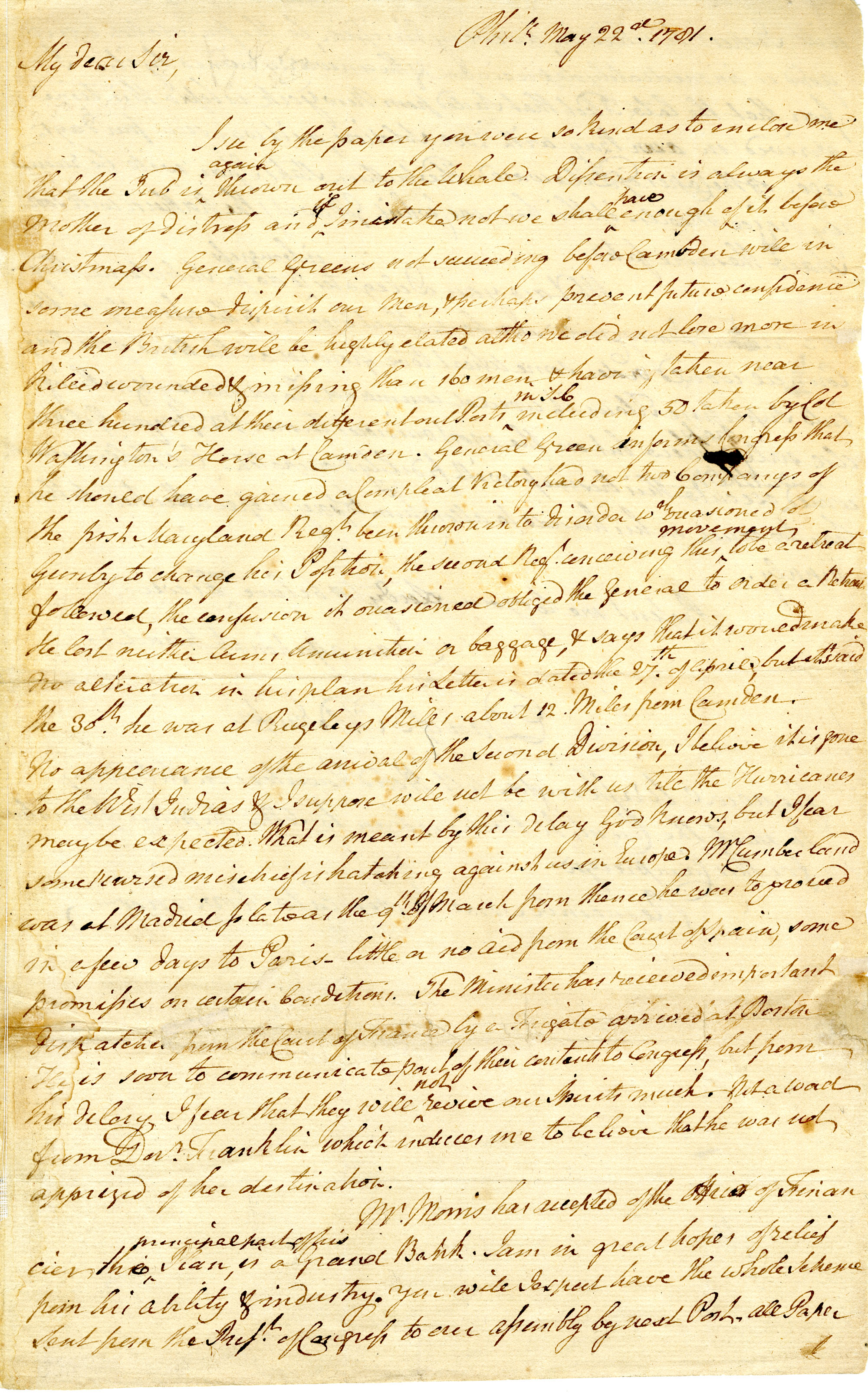 Letter from Daniel of St. Thomas Jenifer to Unknown