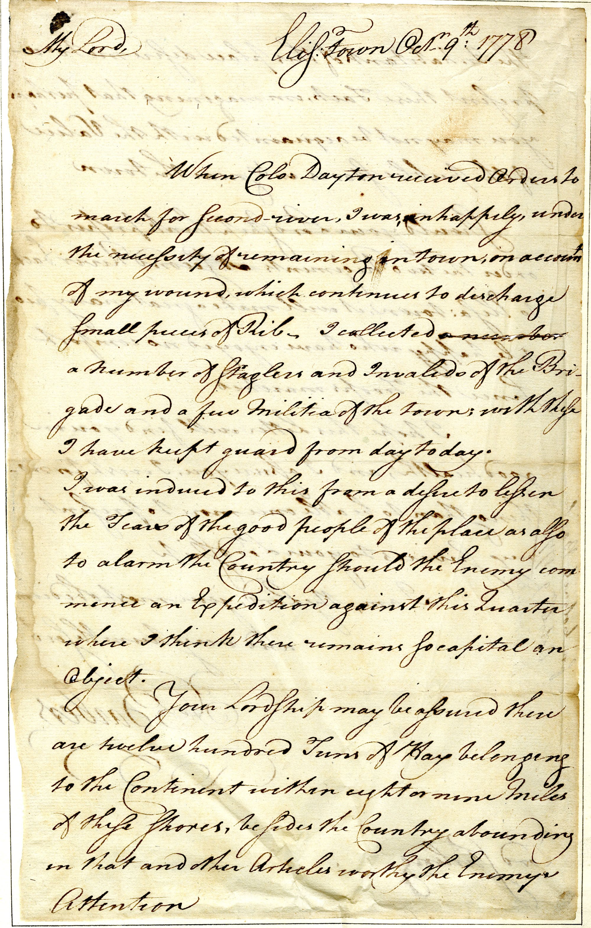 Letter from Francis Barber to William Alexander [Lord Stirling]