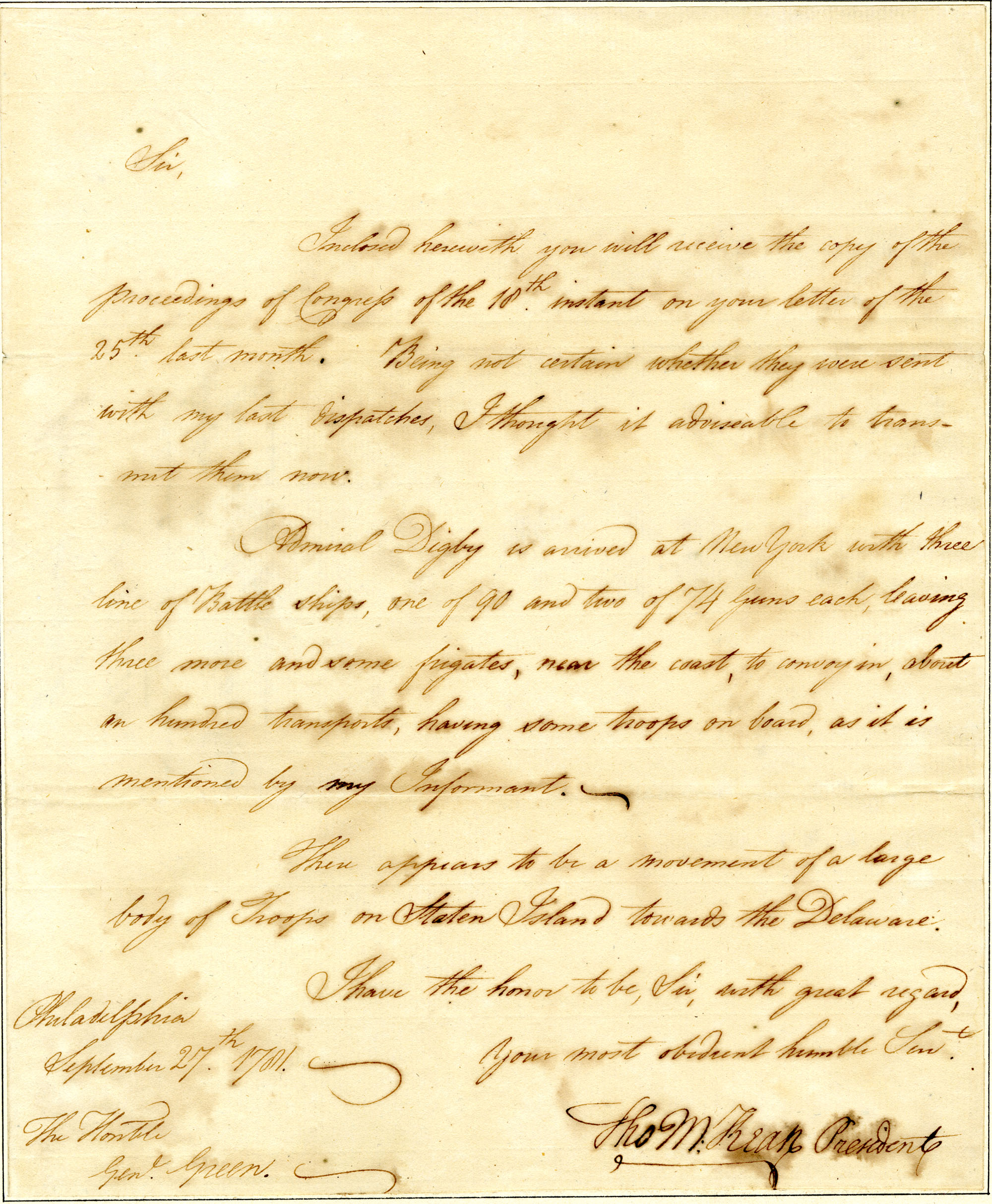 Letter from Thomas McKean to Nathanael Greene