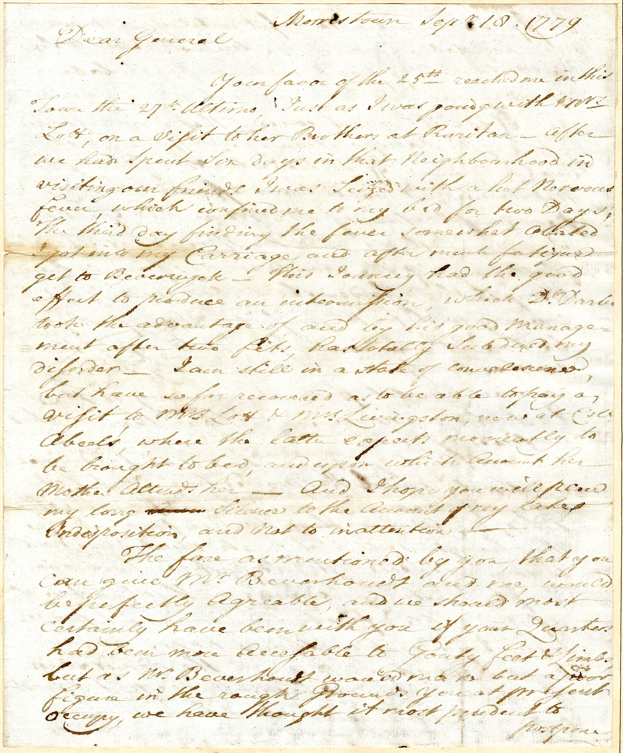 Letter from Abraham Lott to Nathanael Greene