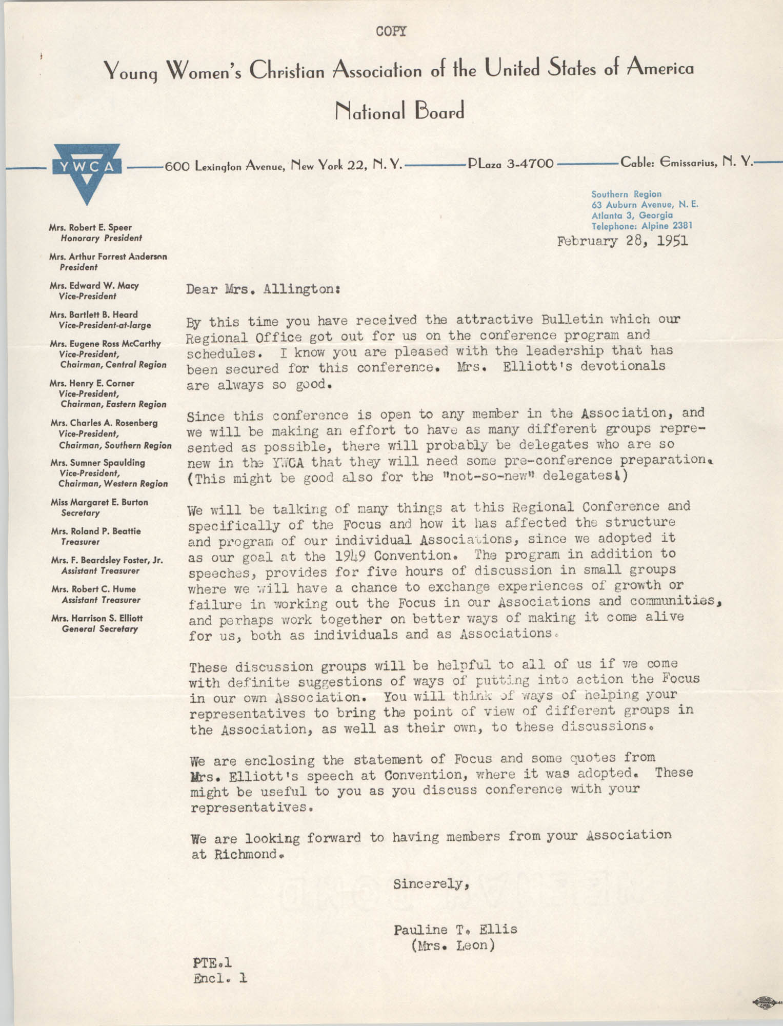 Letter from Pauline T. Ellis to