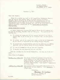 Letter from Christine O. Jackson to Y.W.C.A. Members, November 3, 1967