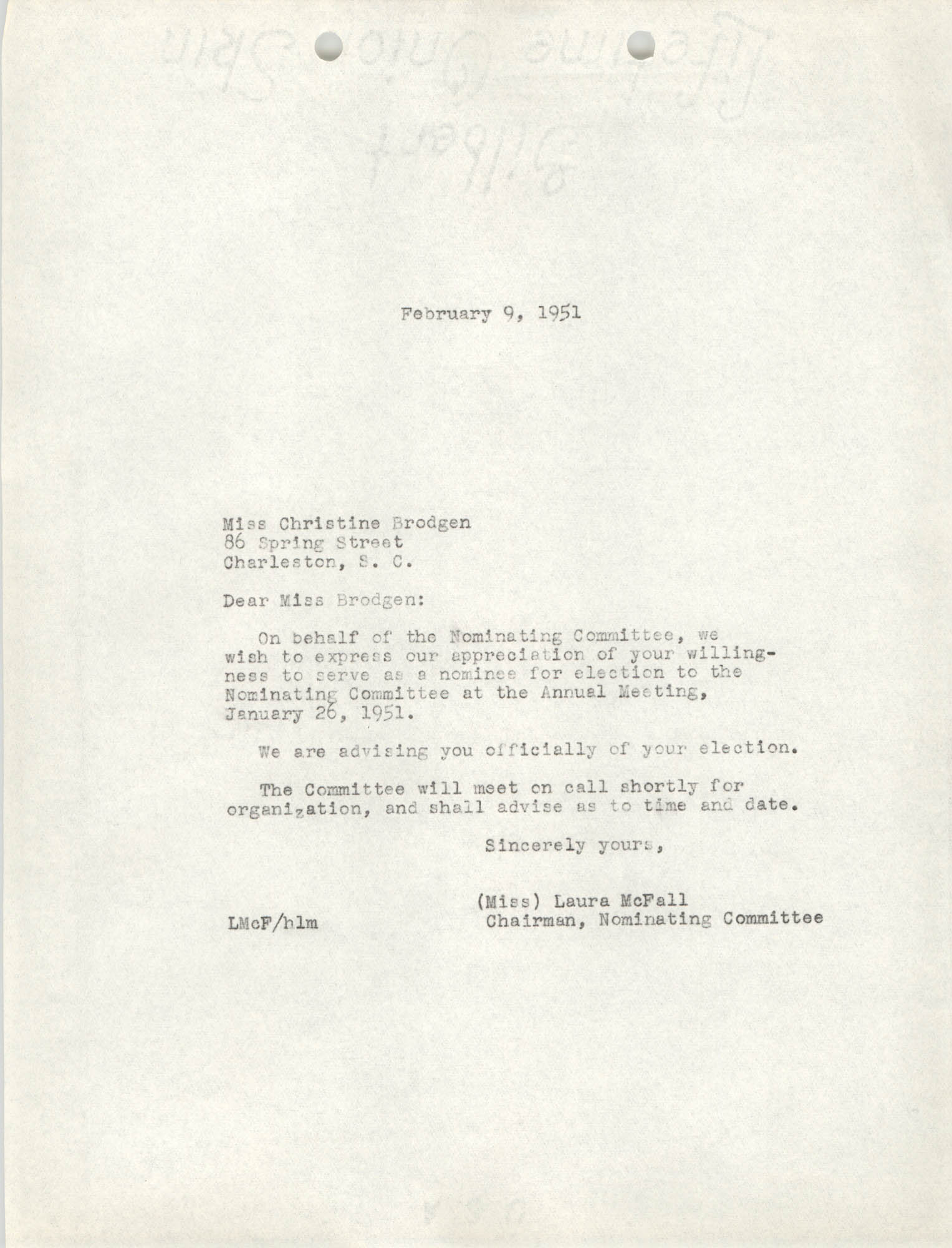 Letter from Laura McFall to Christine Brodgen, February 9, 1951