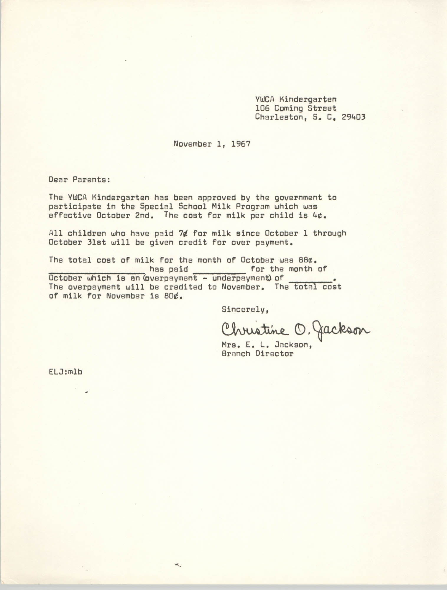 Letter from Christine O. Jackson to Parents, November 1, 1967
