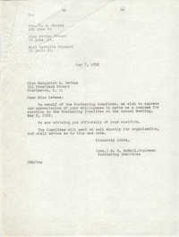 Letter from M. B. McNeil to Marguriet E. DeWees, May 7, 1952