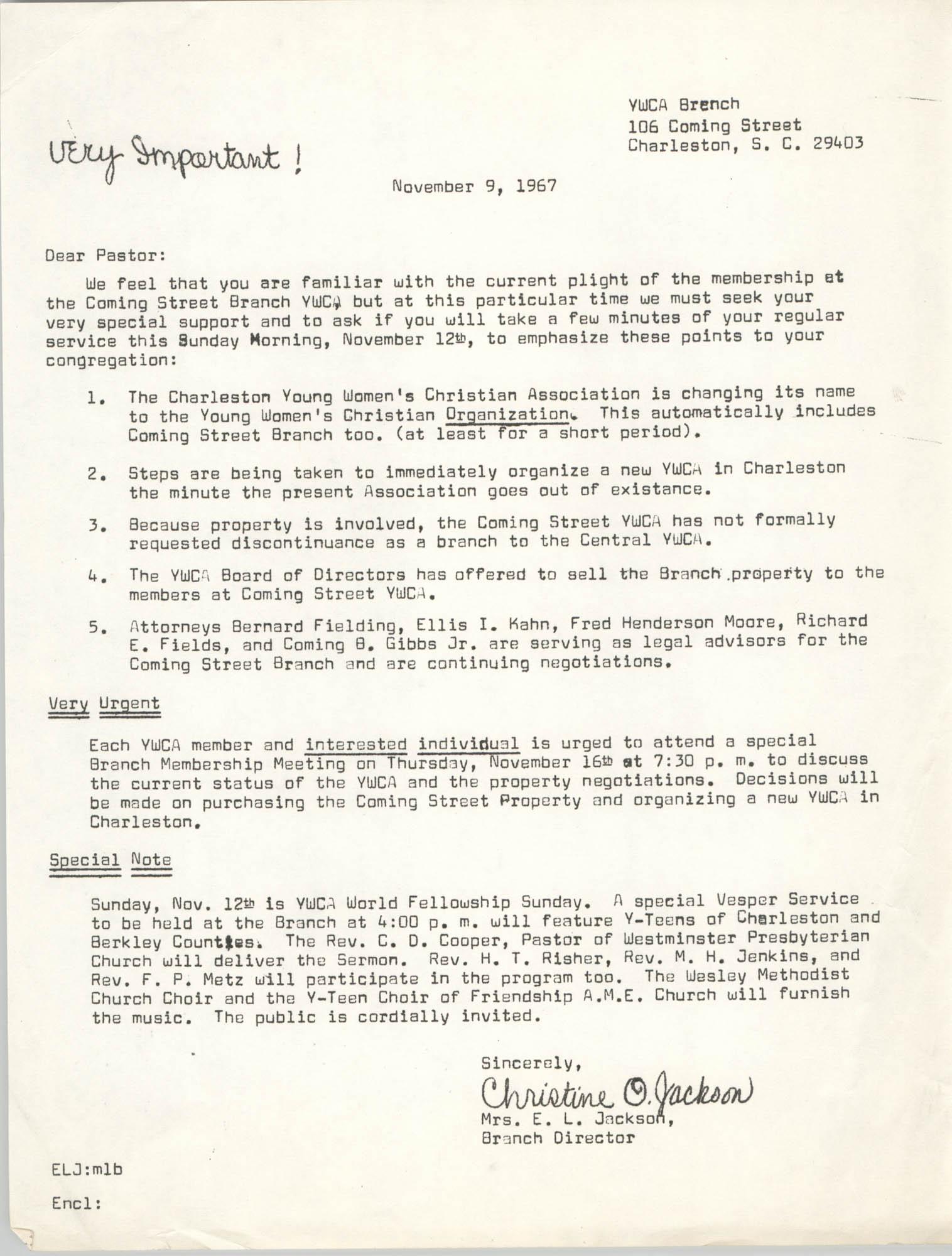 Letter from Christine O. Jackson, November 9, 1967