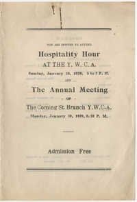 Program to Hospitality Hour and the Annual Meeting for the Y.W.C.A. of Greater Charleston, January 29-30, 1939
