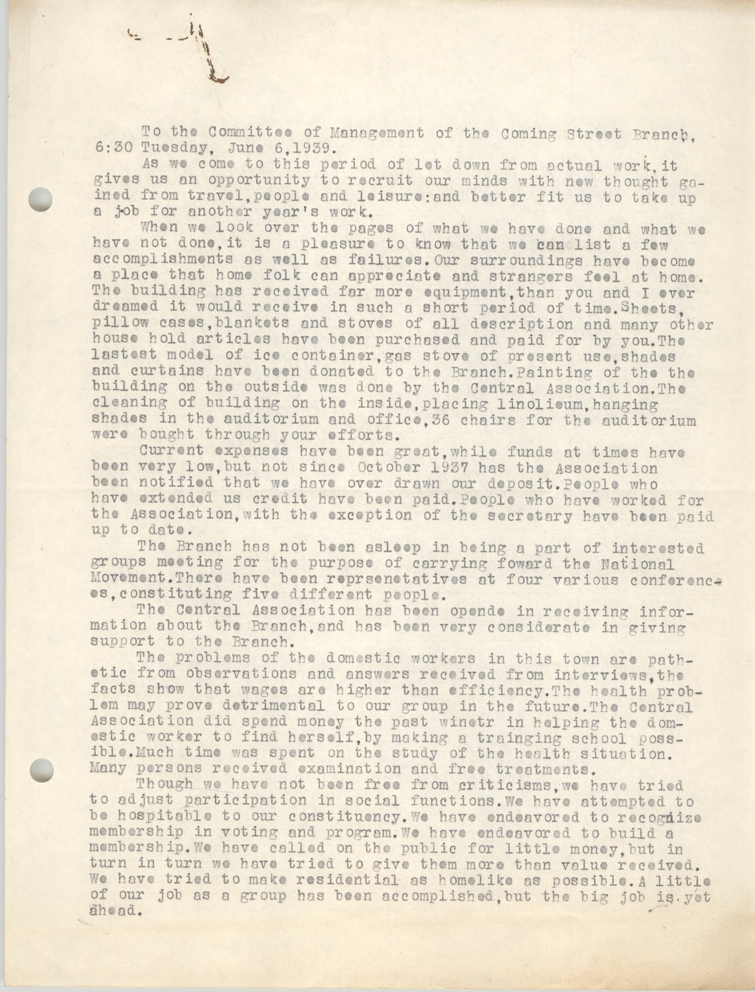 Minutes to the Committee of Management, Coming Street Y.W.C.A., June 6, 1939