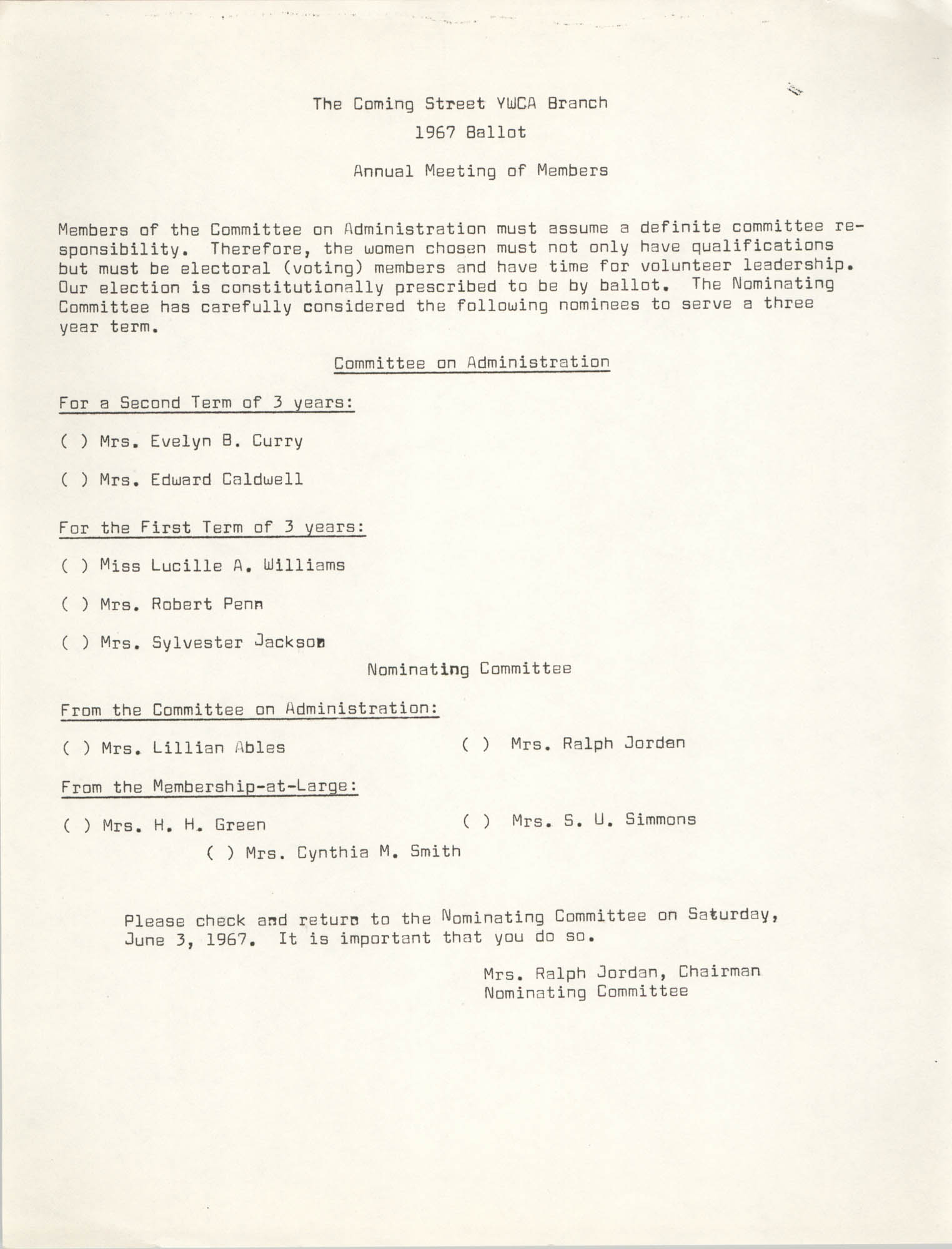 Coming Street Y.W.C.A. Ballot for 1967