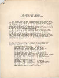 Monthly Report for the Coming Street Y.W.C.A., February 1939